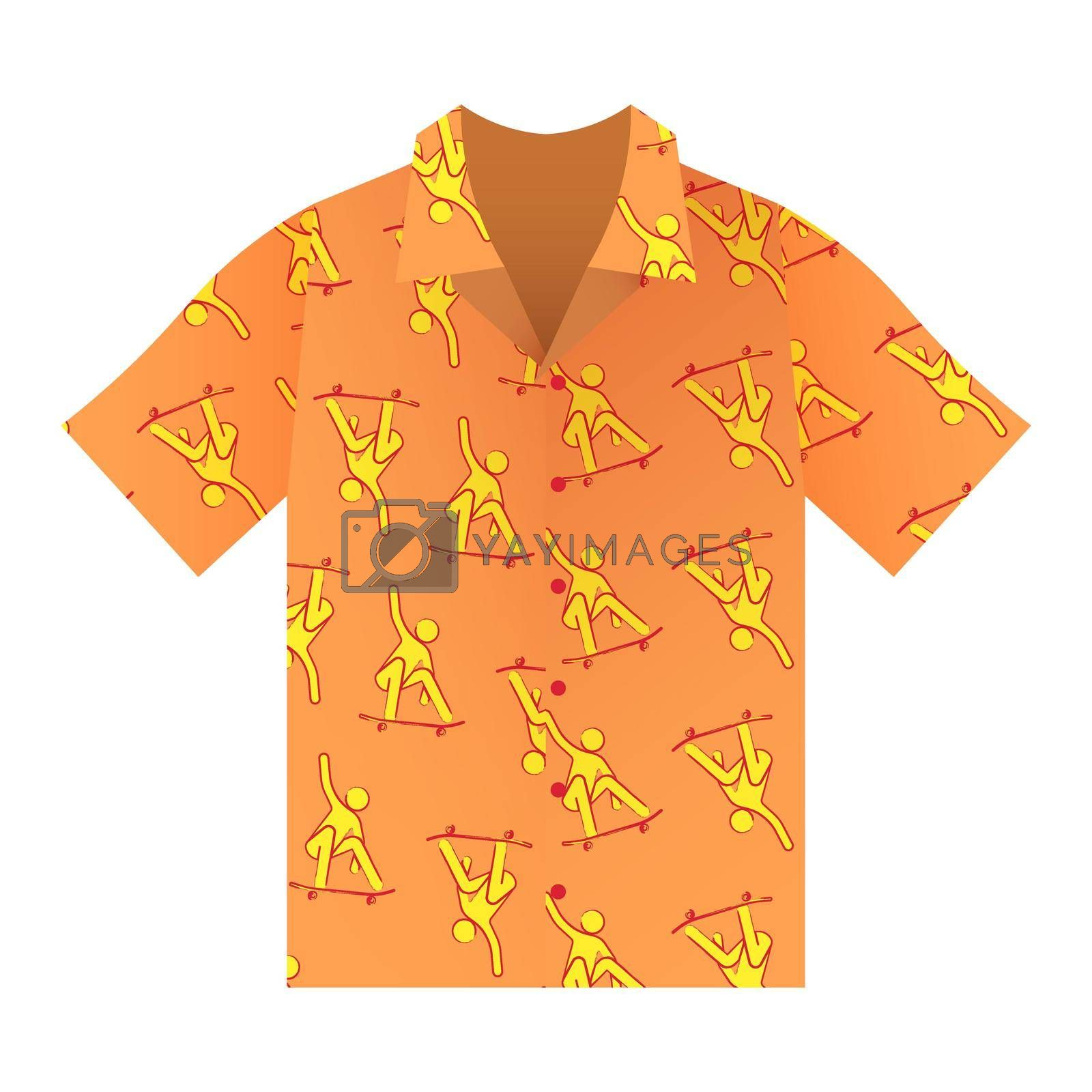 Summer shirt with short sleeves in orange. Bright ornament with skateboarders. Summer clothes. Isolated vector on white background