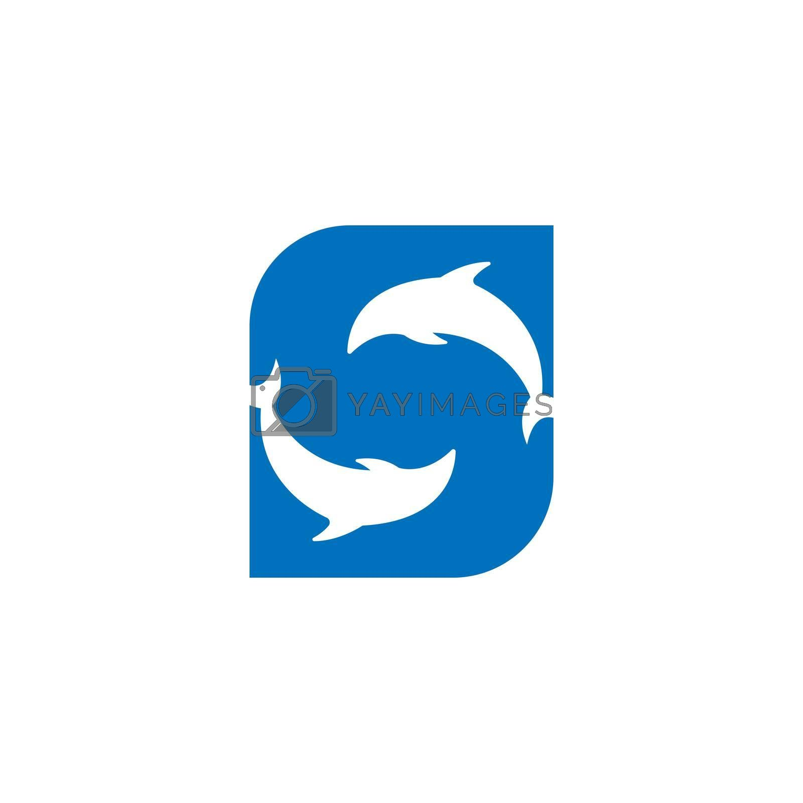 Dolphin with Letter S logo icon design concept vector template illustration