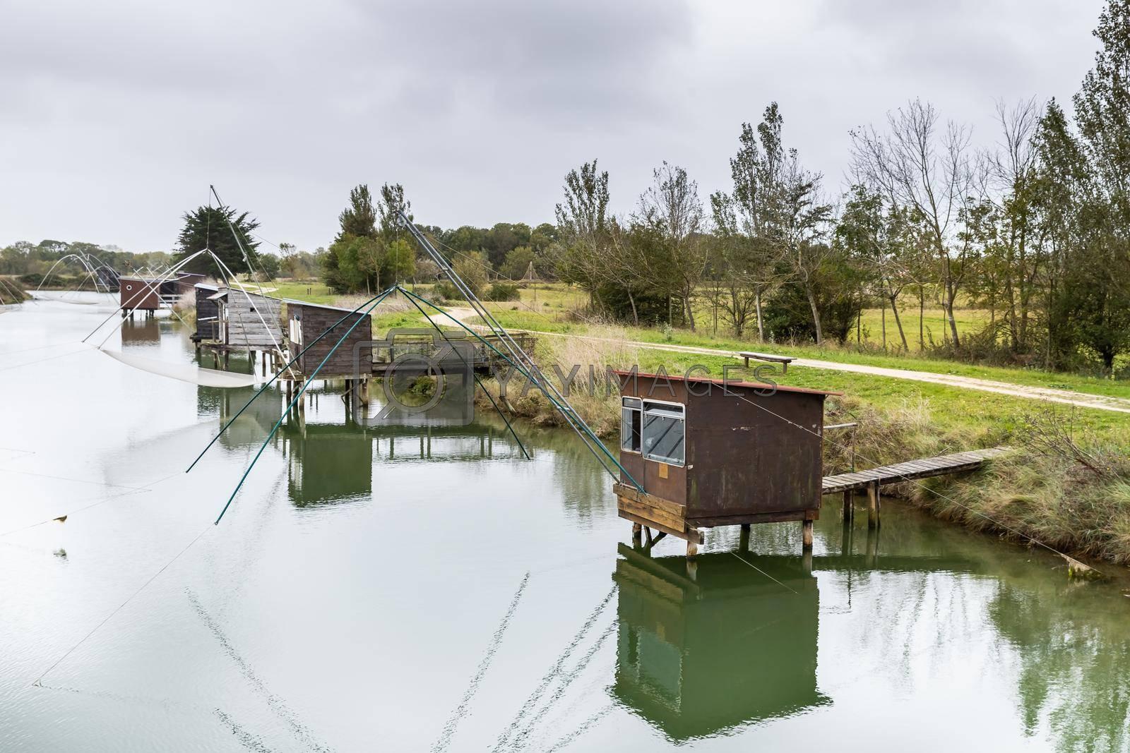 Carrelet de Pêche, the emblematic fisherman's hut of the coastal landscapes of Vendee, Charente-Maritime, in the estuary of La Gironde, La Charente, La Loire or in the Marais Poitevin