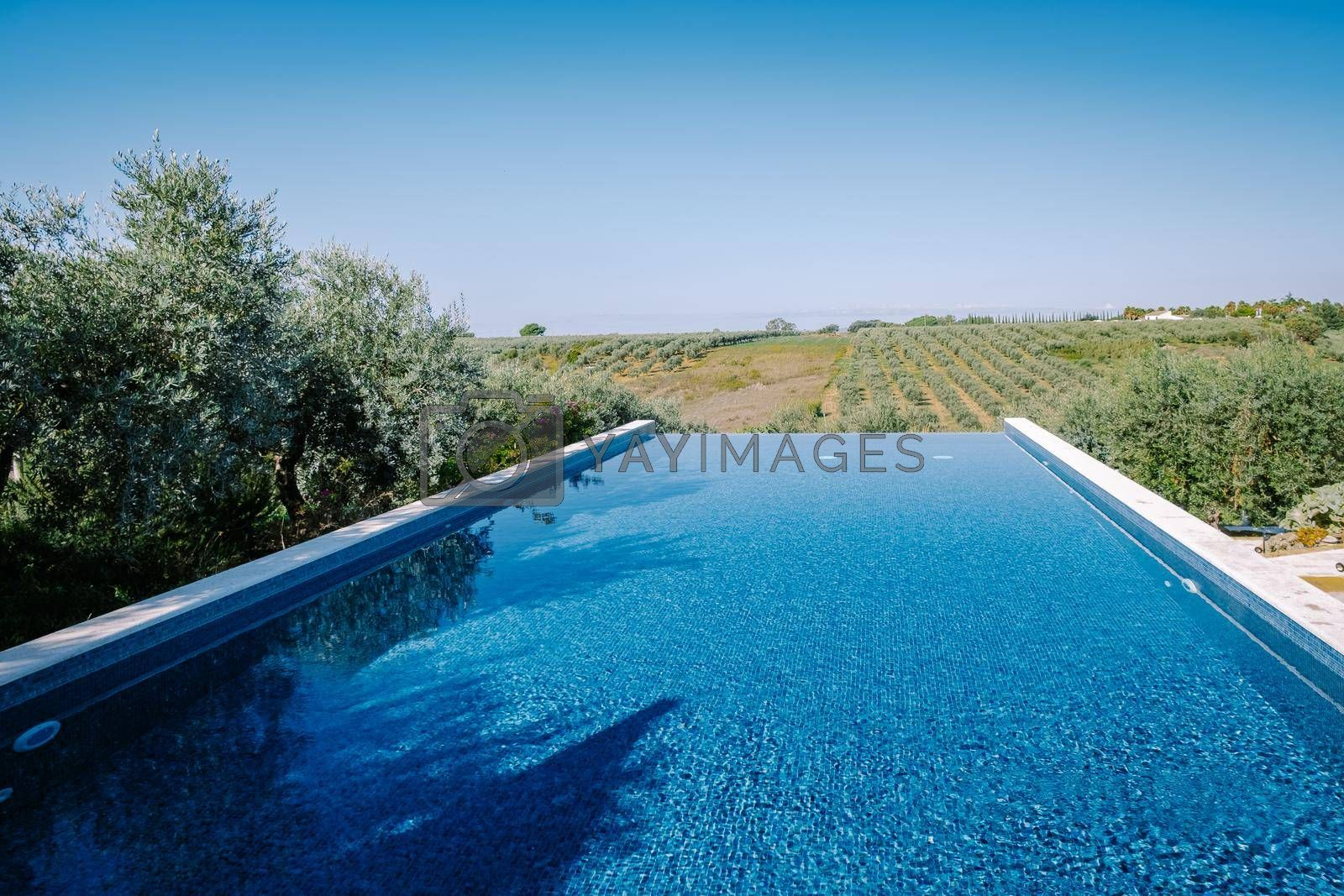 Luxury resort with a view over the wine field in Selinunte Sicily Italy. infinity pool with a view over wine fields in Sicilia