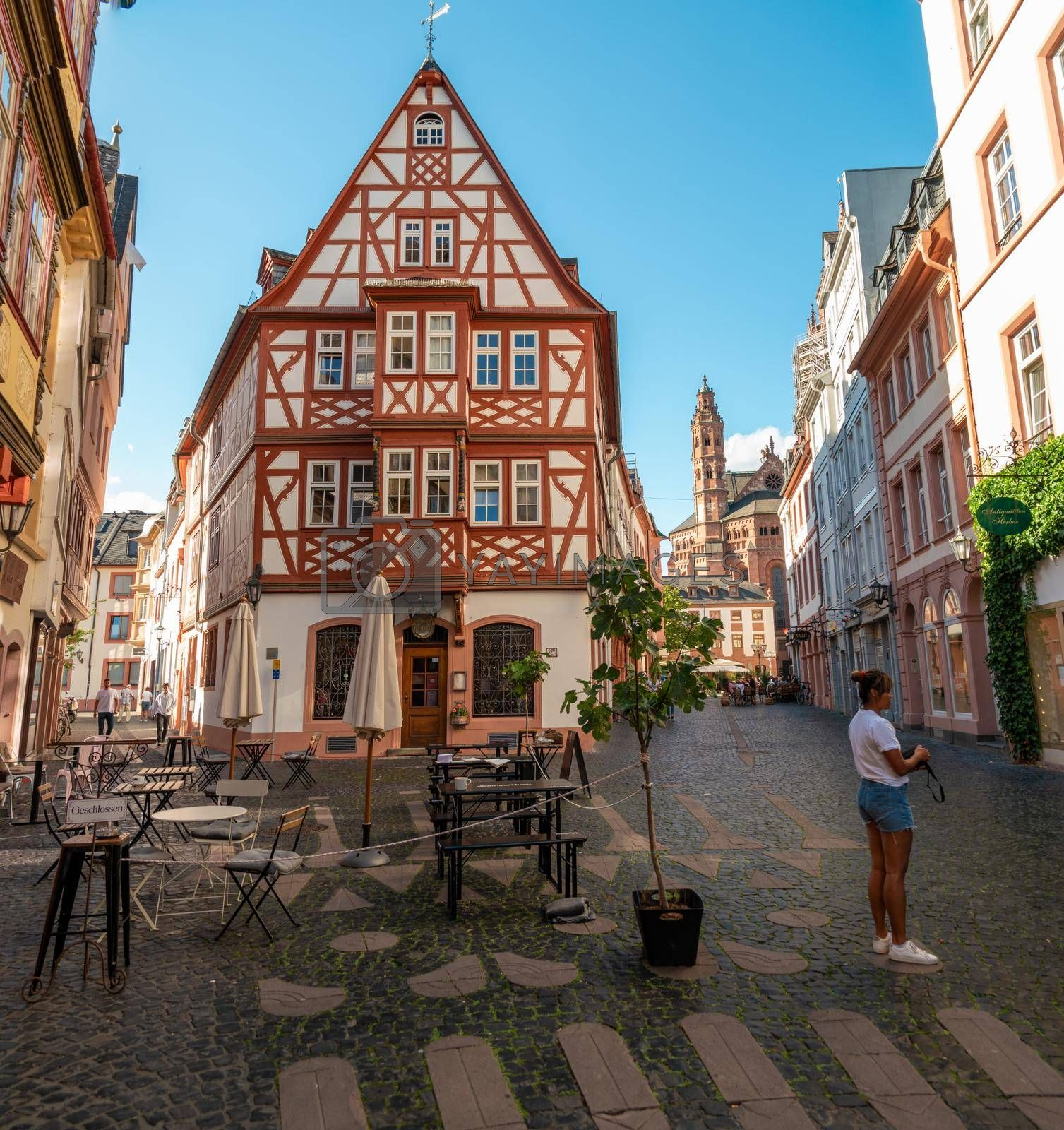 Mainz Germany August 2020, Classical timber houses in the center of Mainz, Germany Europe
