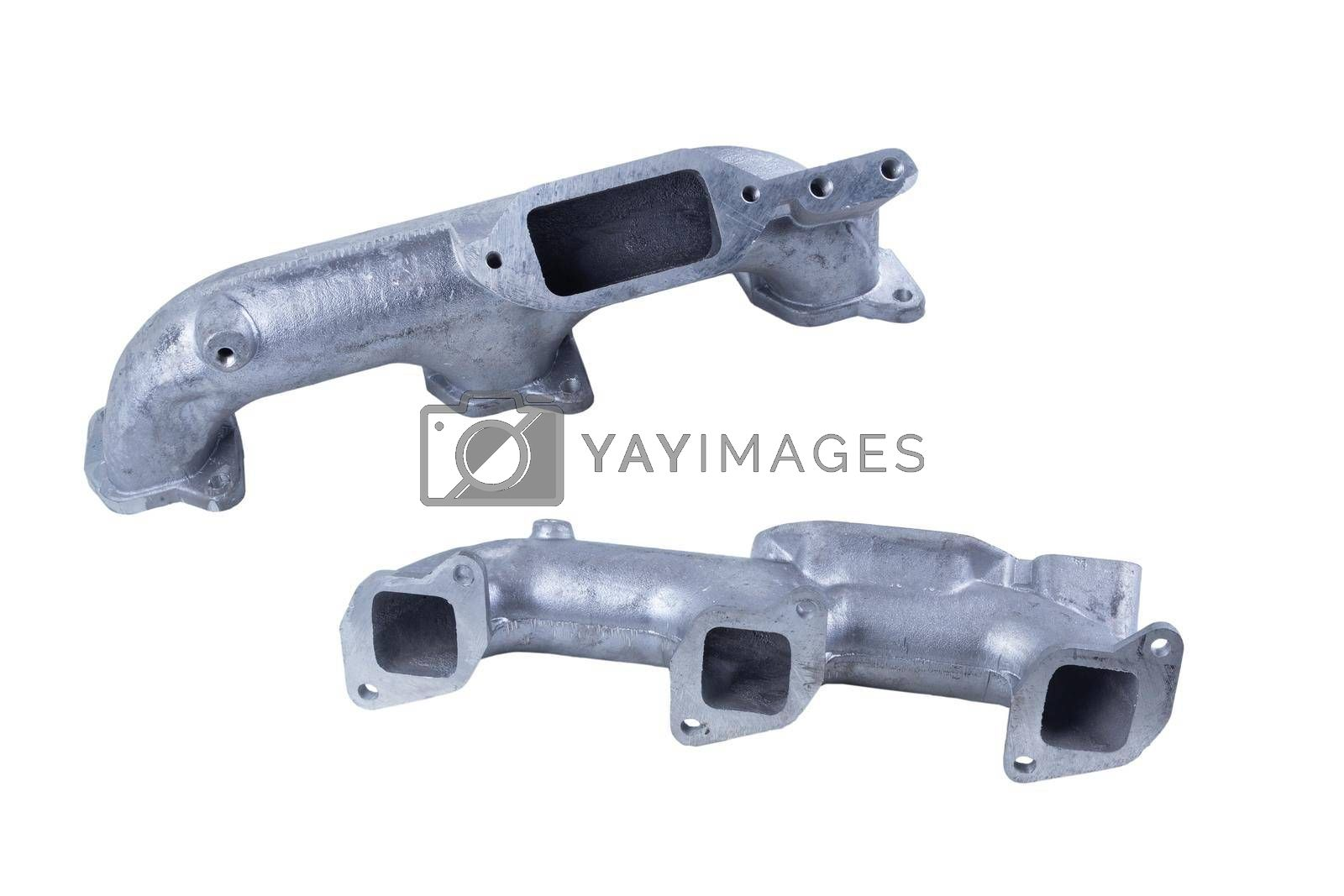 Royalty free image of the left intake manifold for engines of the Russian cargo car, isolated on a white background. front and rear view by forester