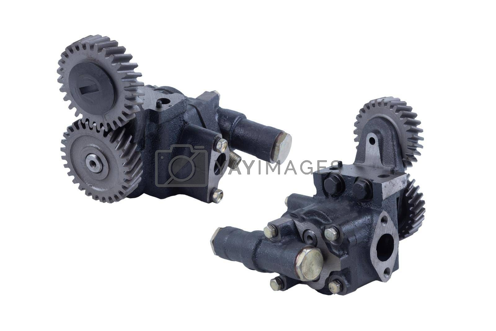 Car engine oil pump of Russian trucks isolated on white background. front and rear view