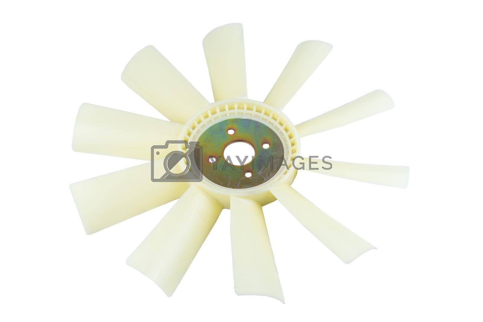 Royalty free image of new car radiator cooling fan on white background. by forester