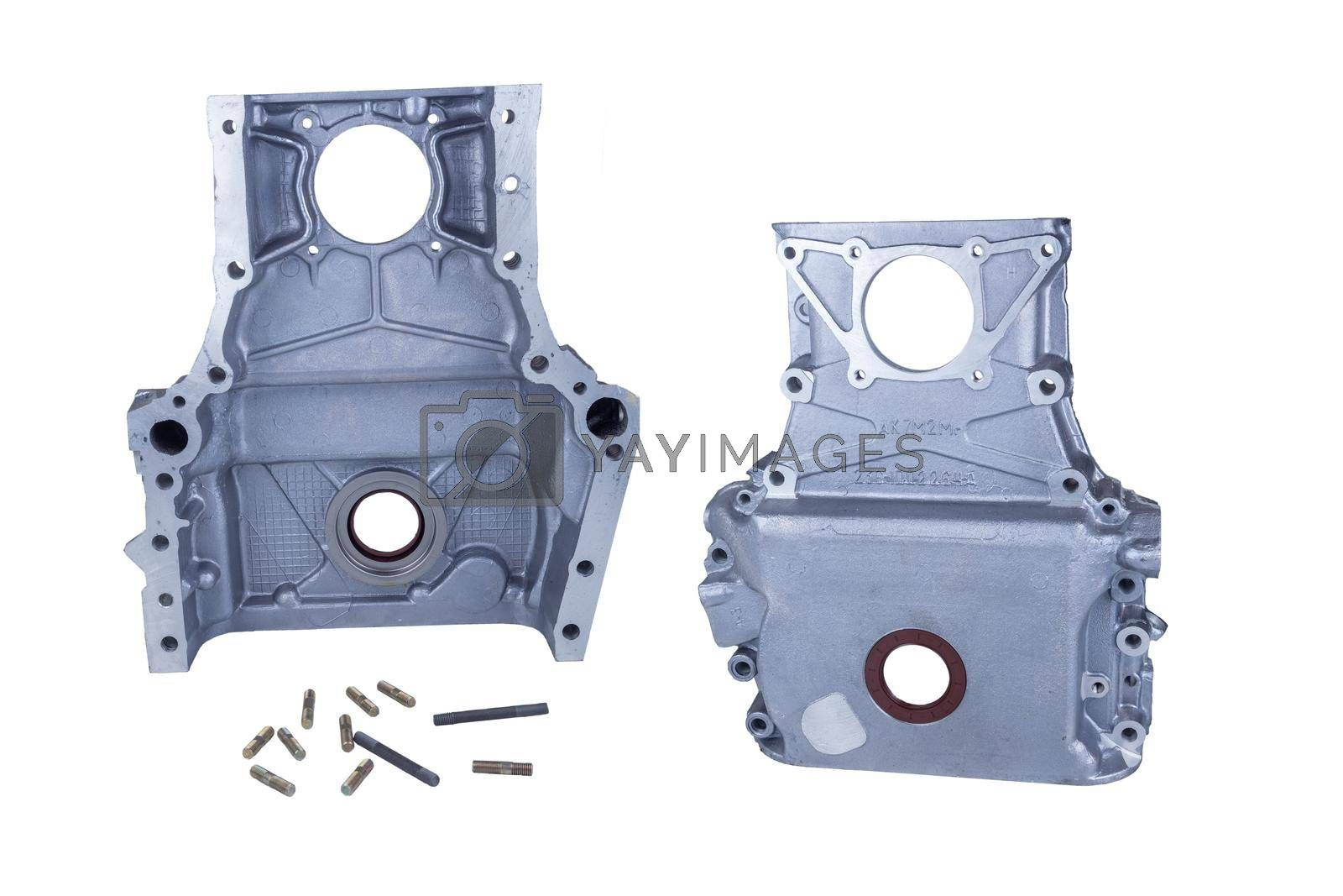 Royalty free image of front cover the engine of a Russian KAMAZ truck, isolated on a white background. front and rear view by forester