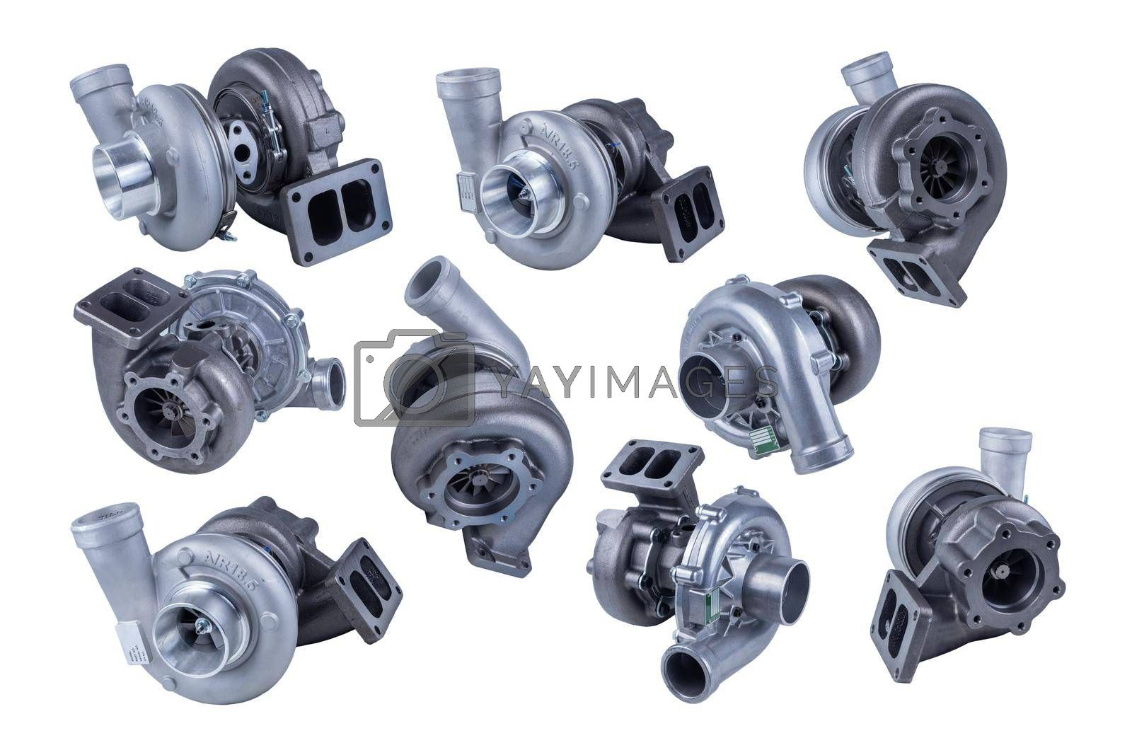 Royalty free image of set of several new modern truck turbocharger isolated on white background. turbocharger to increase the power of the car engine. by forester
