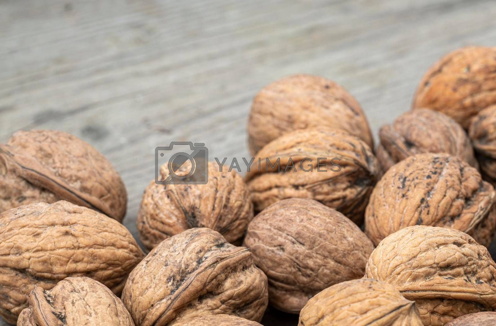 Royalty free image of Walnuts on a wooden board  by Tofotografie
