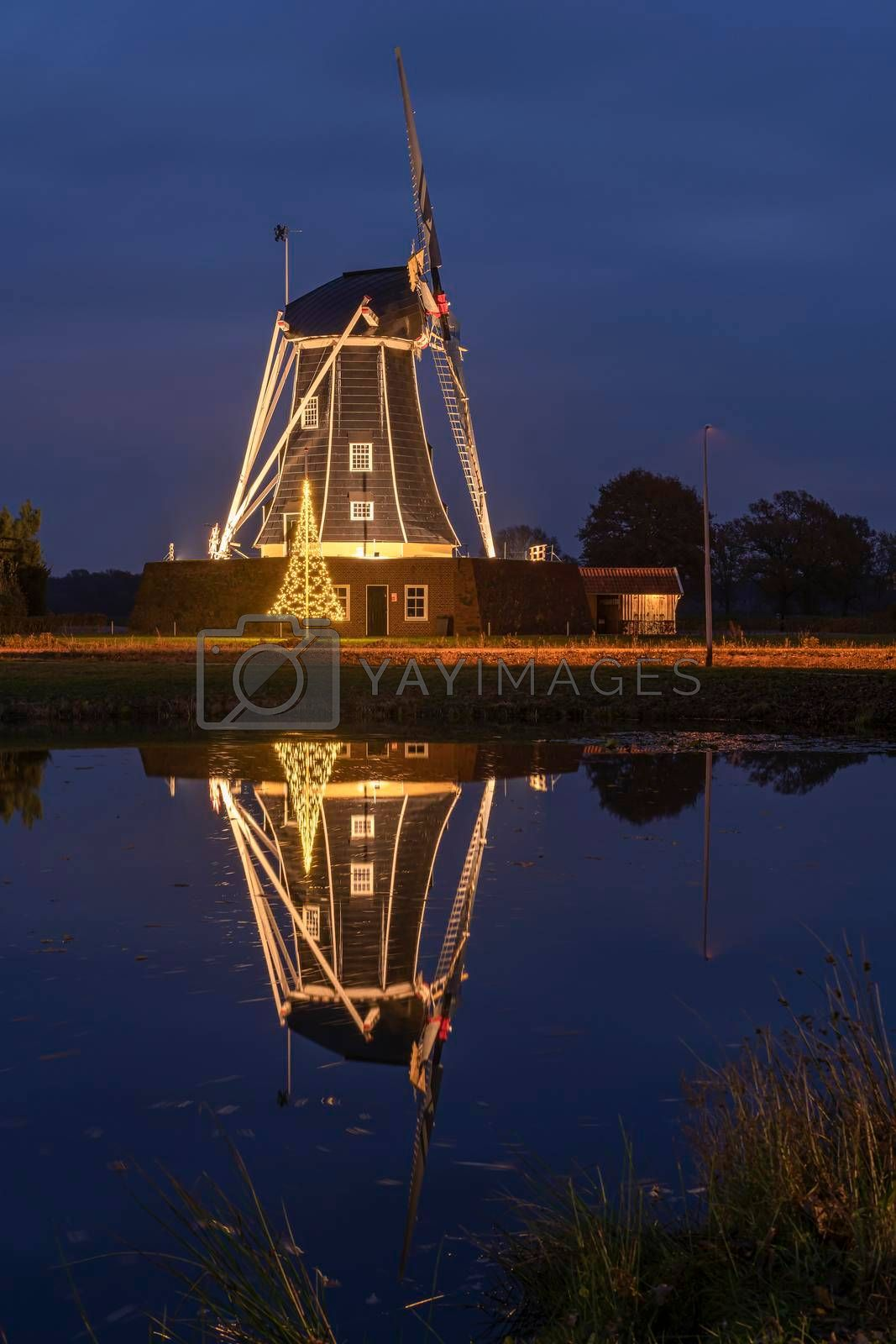 Royalty free image of Bataaf windmill in Winterswijk with a Christmas atmosphere  by Tofotografie