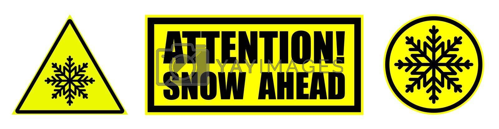 low temperature, snow ahead warning attention sign on yellow. Safety and warning for snow on road. Set of yellow black danger signs. Isolated vector