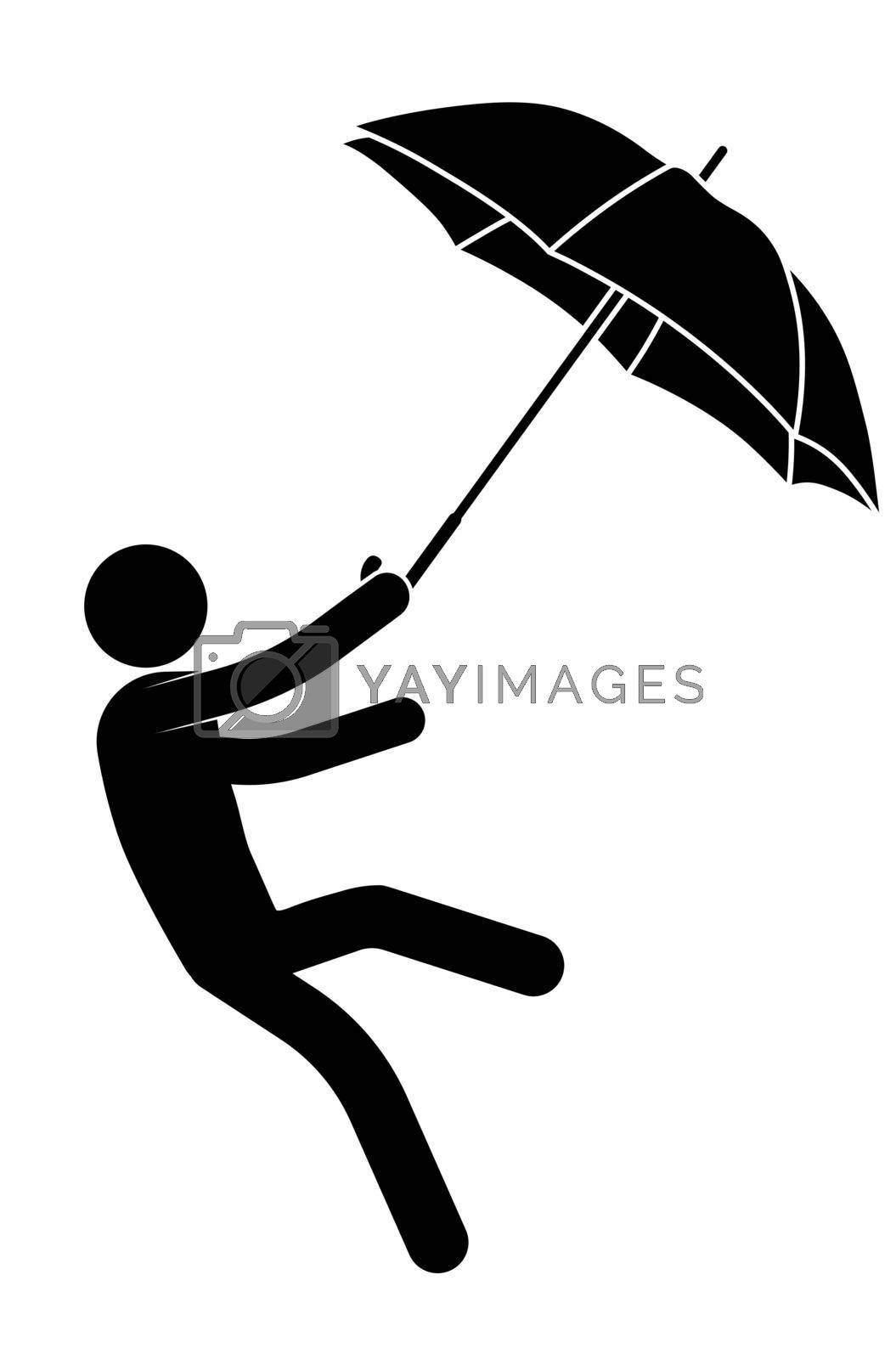 stick man, person with an umbrella is carried by a strong wind, he cannot stay on his feet. Health protection in bad rainy weather. Vector on white background