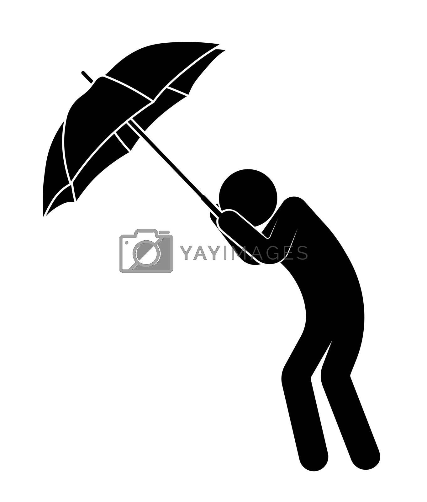 stick man, person with an umbrella is protected from strong wind and bad weather, cannot stay on his feet. Health protection in bad rainy weather. Vector on white background