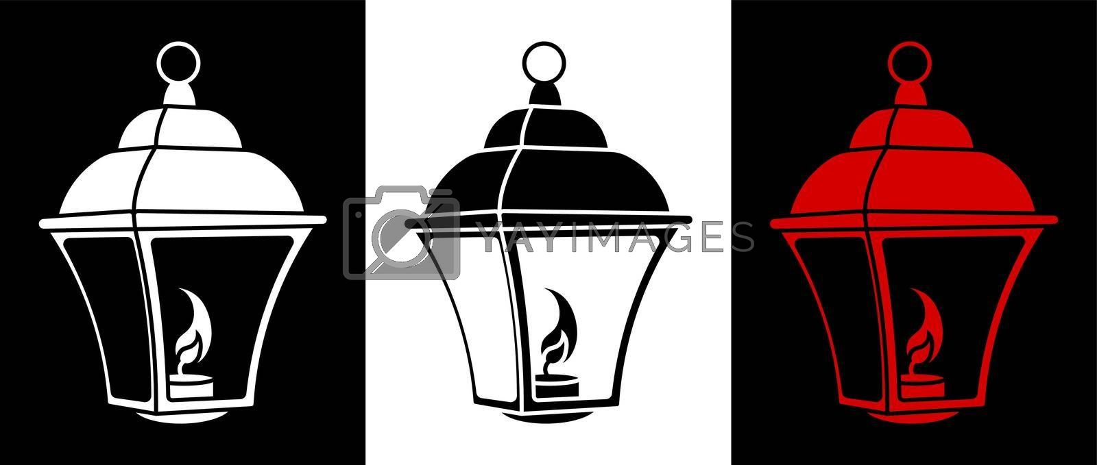 street light icon with burning candles inside. Vintage style. Night romance of big city. Street lighting at night. Black and white vector