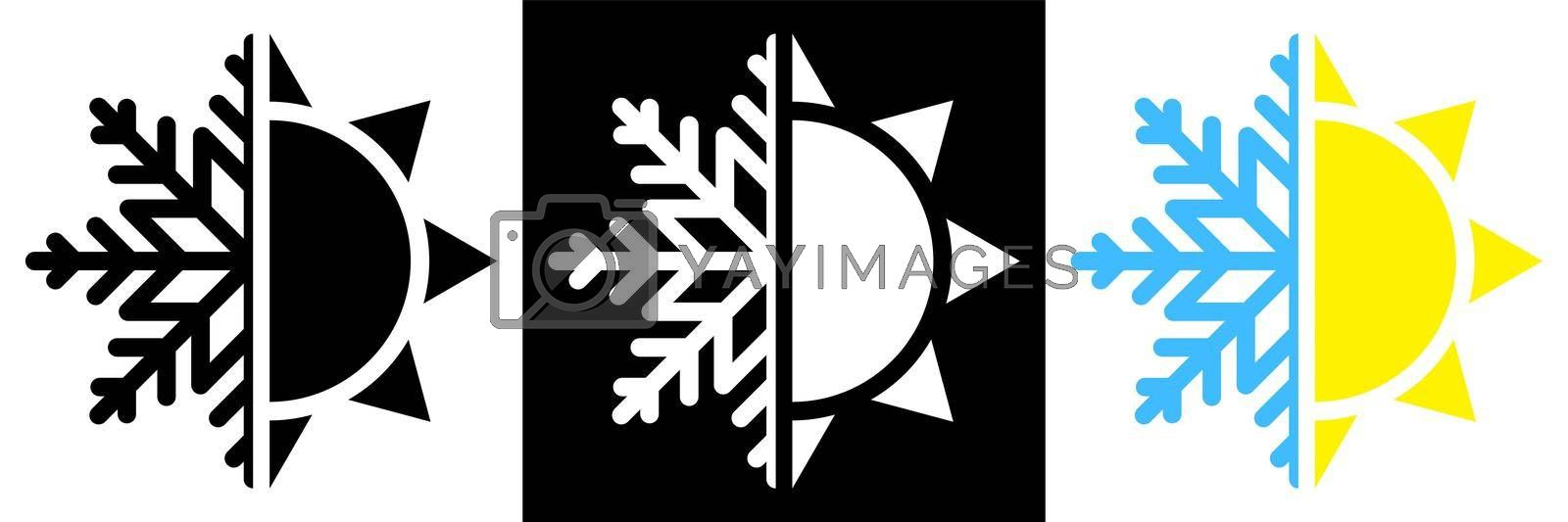 Sun and snowflake. Hot summer and cold winter temperature icon. Snowflake and sun split in half. Isolated vector