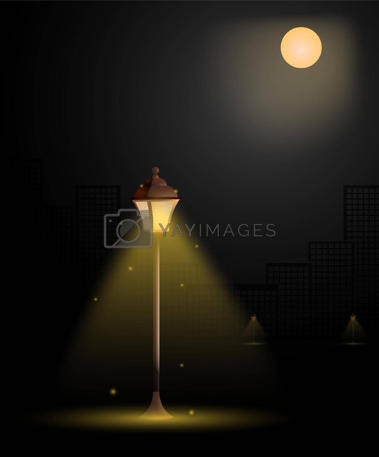 street light in big city. Vintage style. Night romance of metropolis. Bright full moon in sky. Street lighting at night. Realistic vector illustration