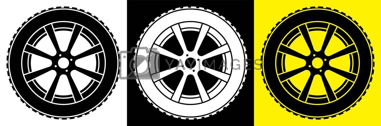 wheel with tire and winter rubber tread. Winter tires for car. Driving on slippery road. Driving safety. Vector in flat style by RNko