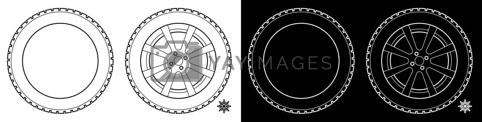 wheel with tire and winter rubber tread. Winter tires for the car. Driving on slippery road. Driving safety. Vector by RNko