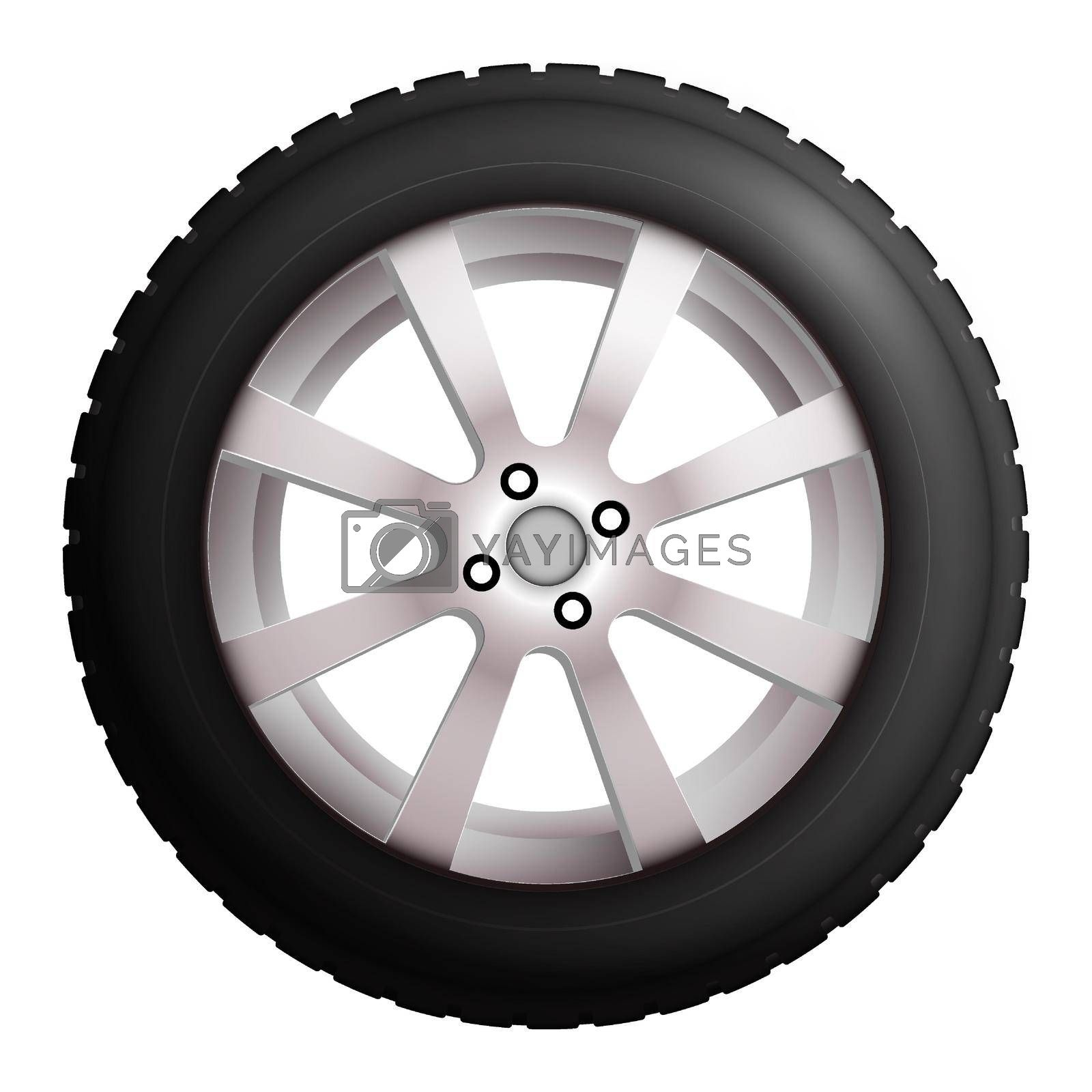 wheel with tire and winter rubber tread. Winter tires for the car. Driving on slippery road. Driving safety. Realistic vector by RNko