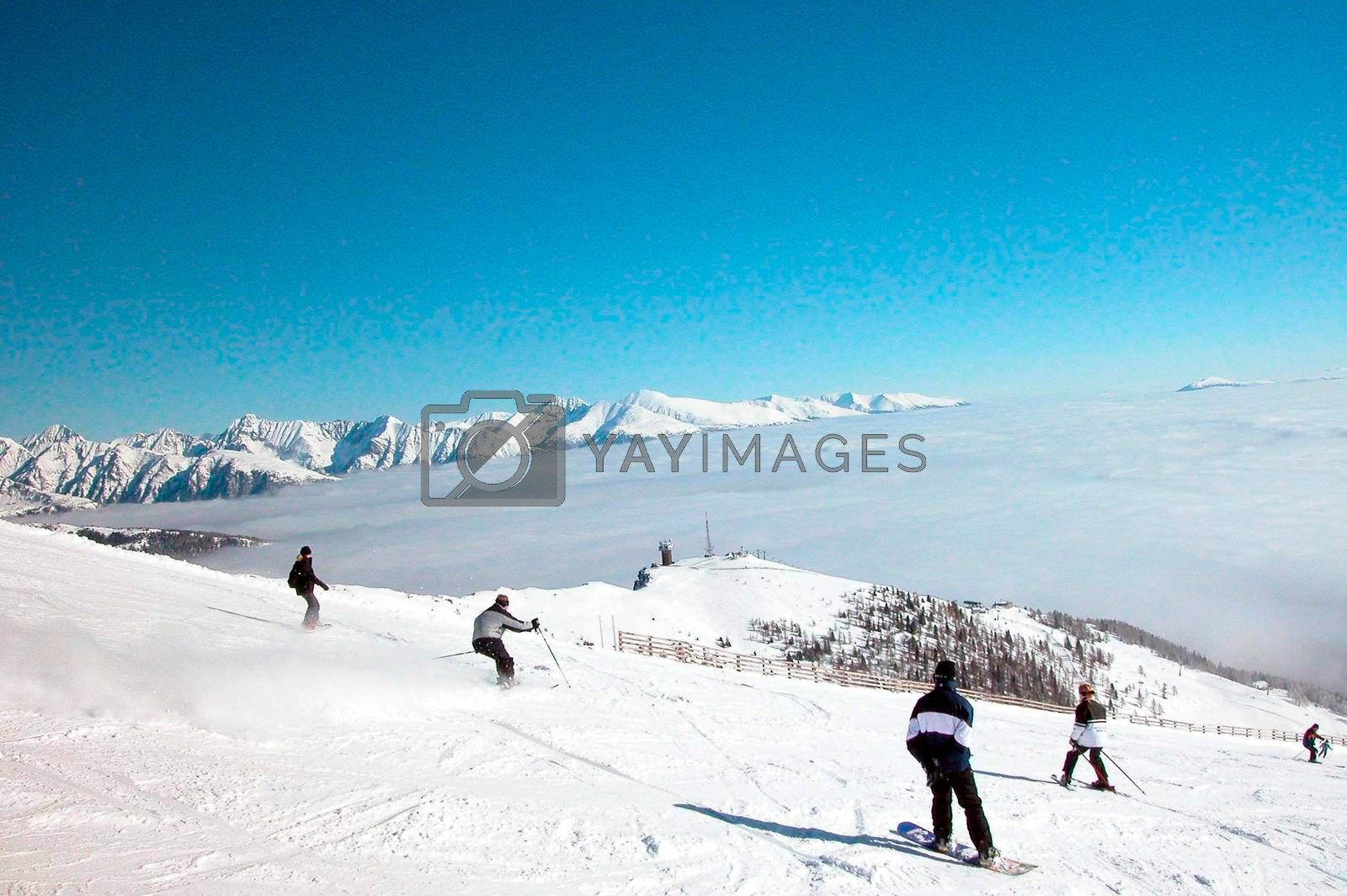 outdoor skiing on a ski slope in the winter vacation
