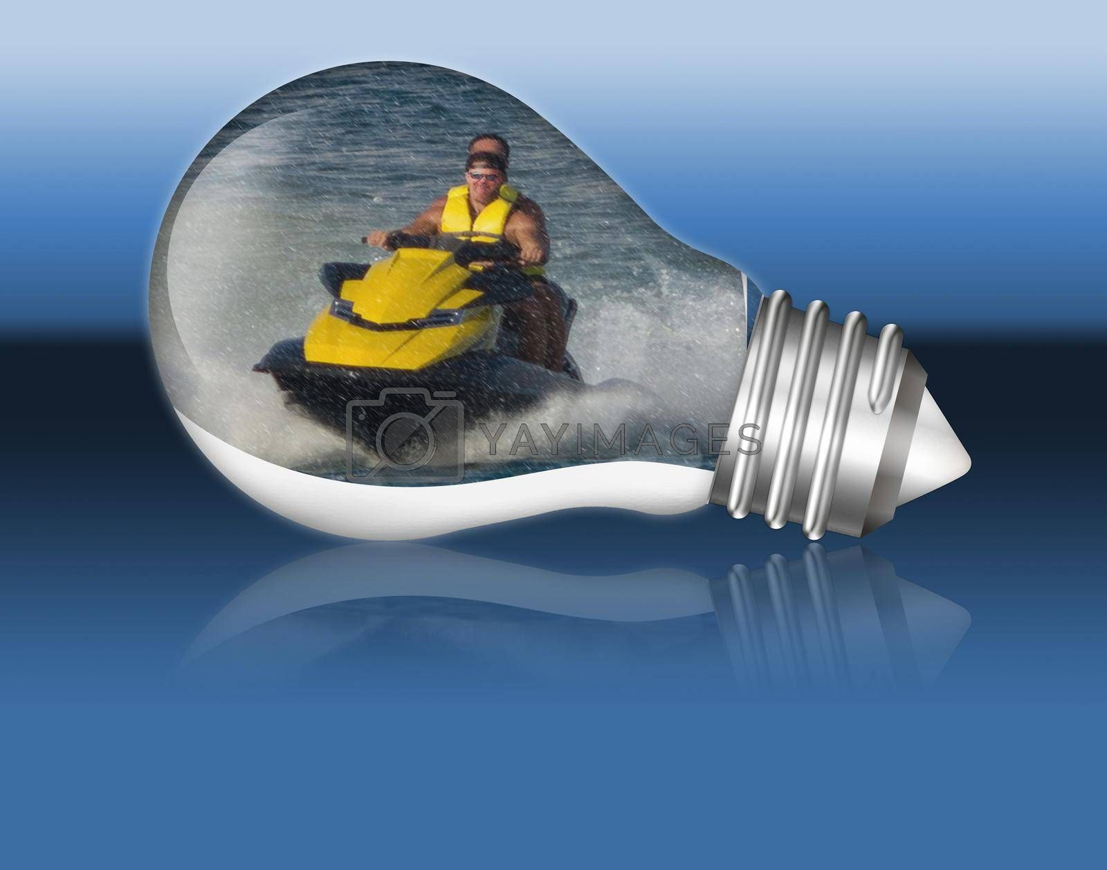 Royalty free image of Jet ski in a lightbulb.   by JFsPic