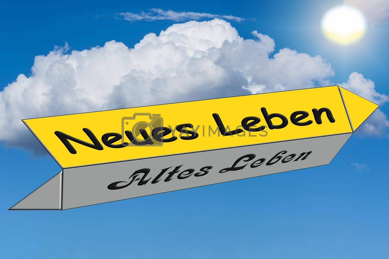 Royalty free image of Street sign caption in german - new against old life by JFsPic