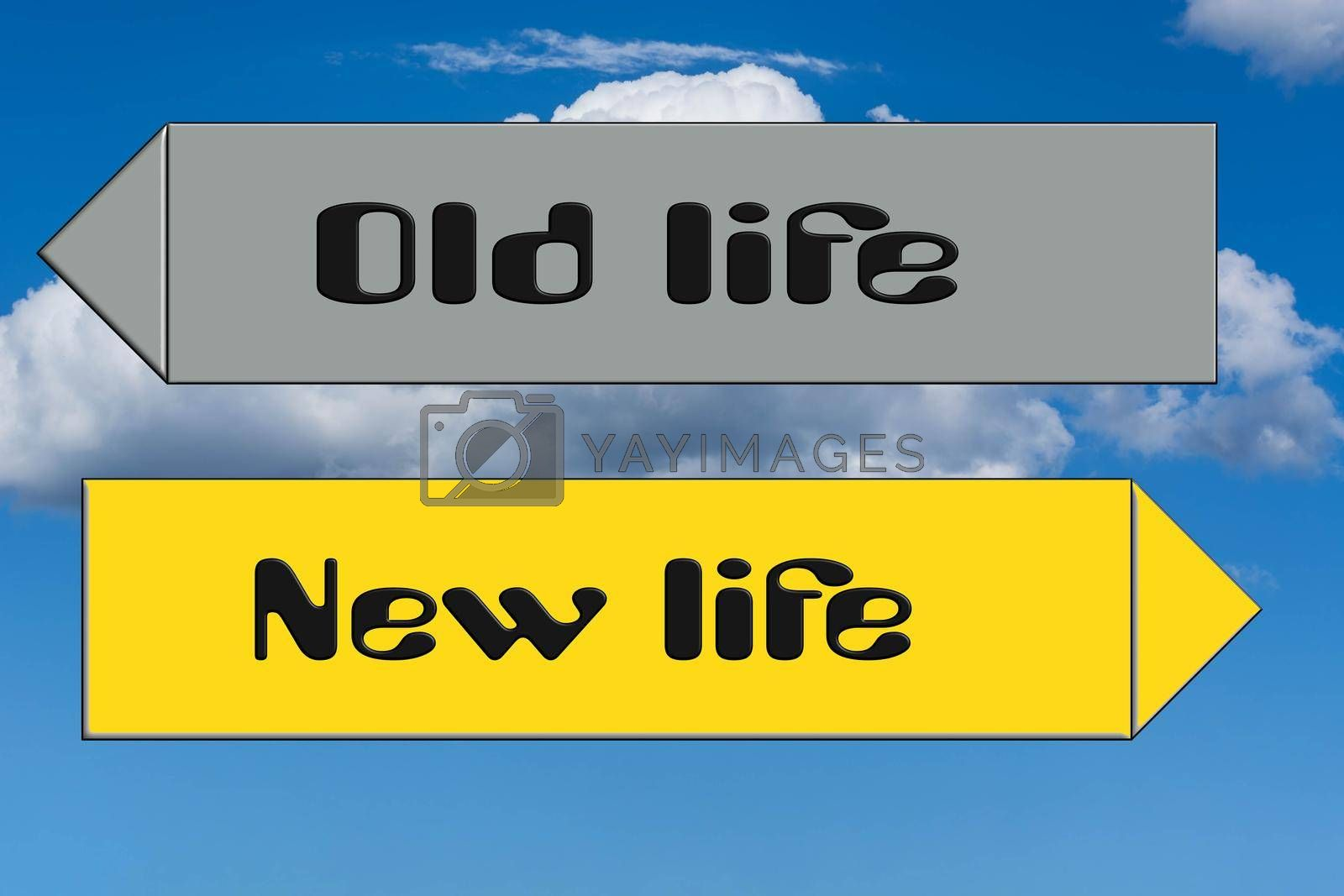 Royalty free image of Street sign inscription in English - new against old life               by JFsPic