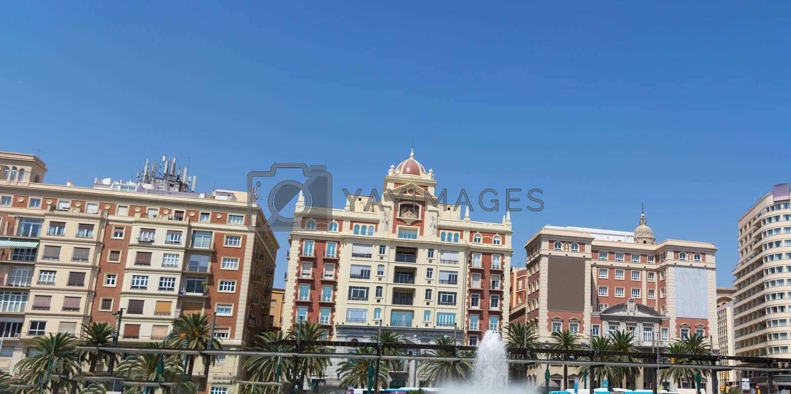 Royalty free image of Super Panoramablick auf der Plaza De La Marina (Marina Square) in der Altstadt.                        Super panoramic view of the Plaza De La Marina (Marina Square) in the old town.        by JFsPic