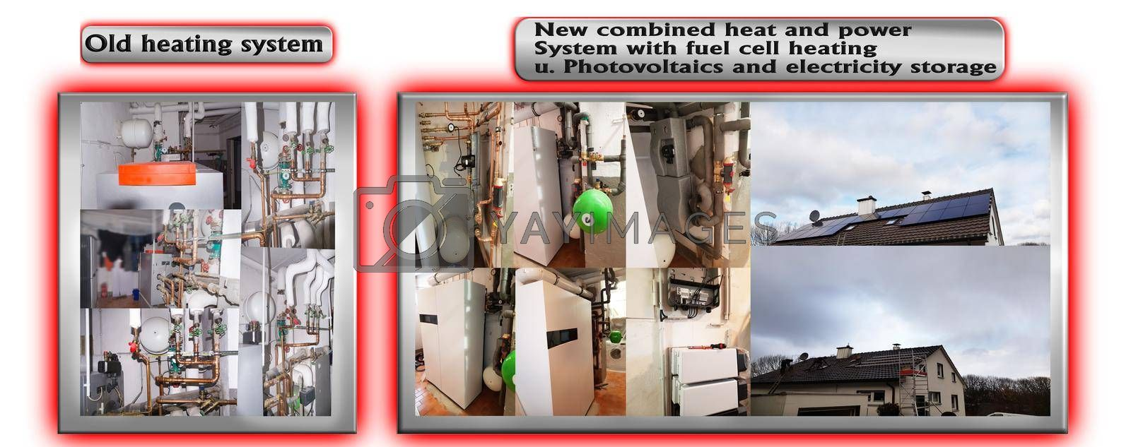 Royalty free image of Old heating system vs new heating system by JFsPic