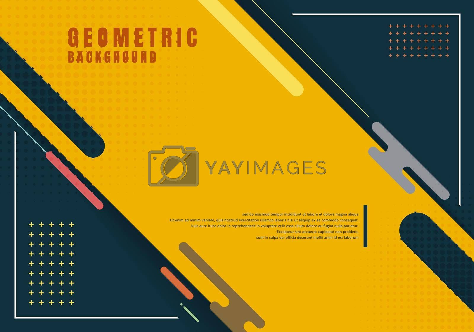 Template presentation abstract geometric rounded line element design with halftone effect decoration yellow background. Vector illustration