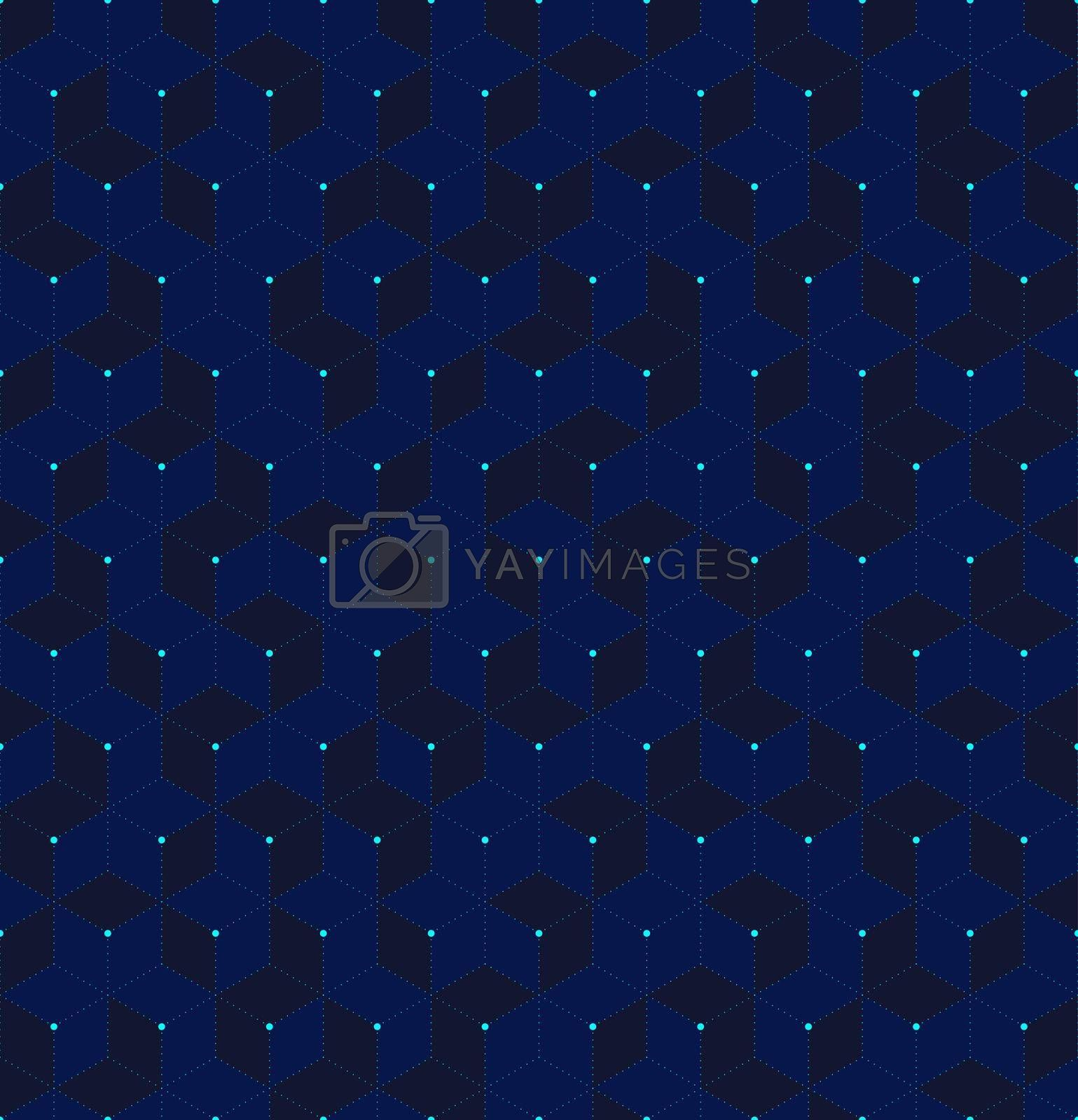 Abstract blue 3D cubes seamless pattern geometric hexagons with lines on grid background digital futuristic concept. Vector illustration