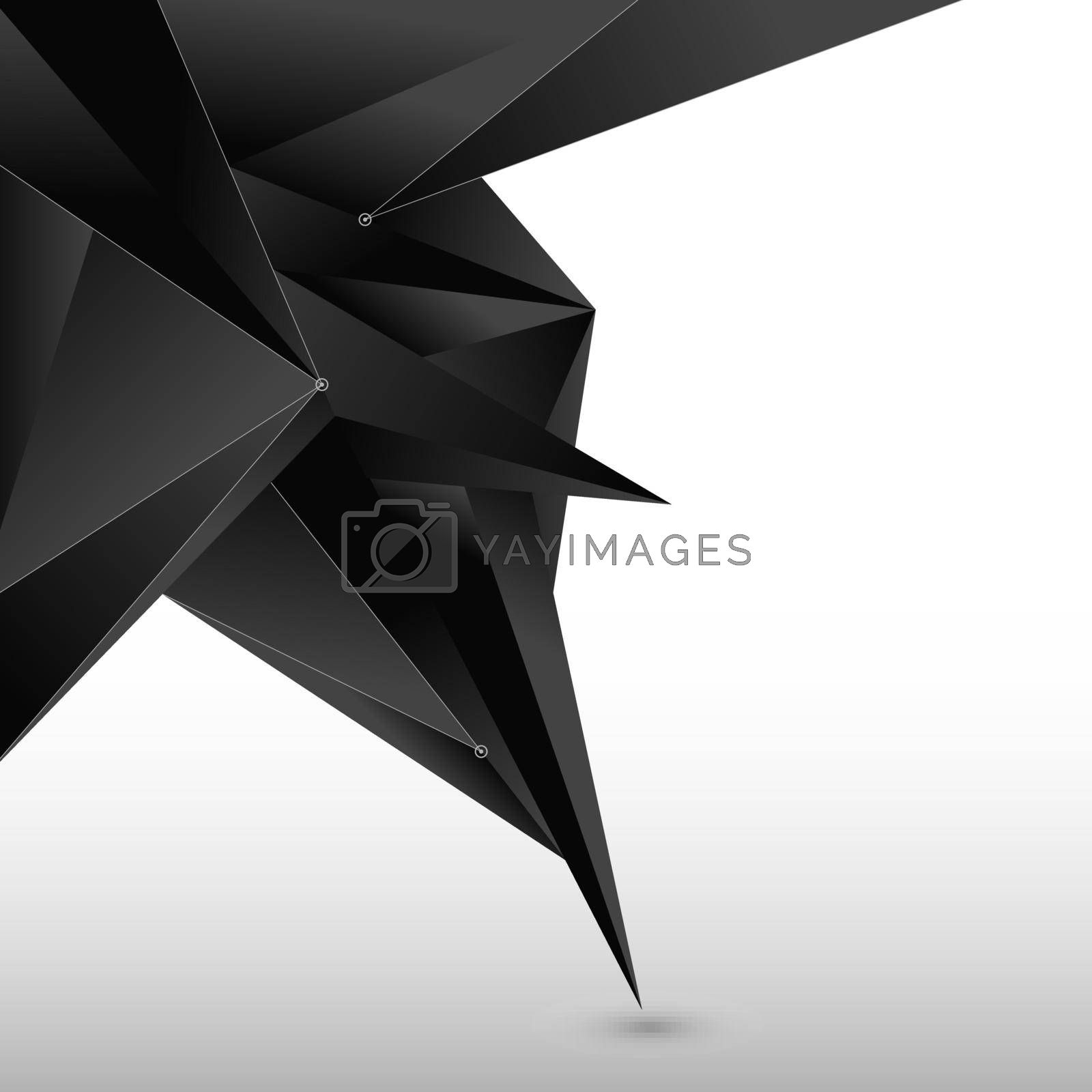 Abstract 3D black polygon form with line and node on white background. Low poly geometric modern with space fot your text. Vector illustration