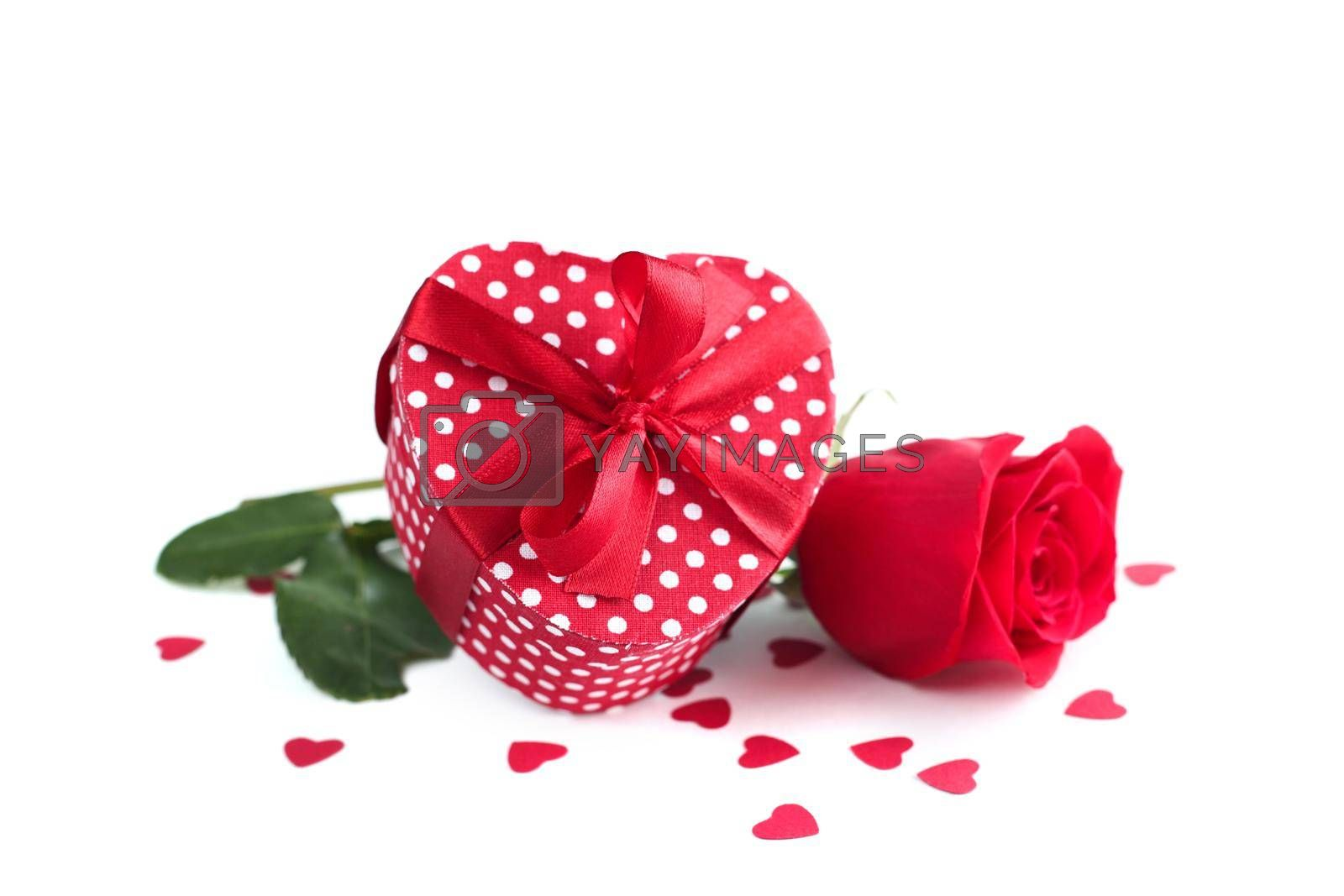 Rose, gift and hearts isolated on white background