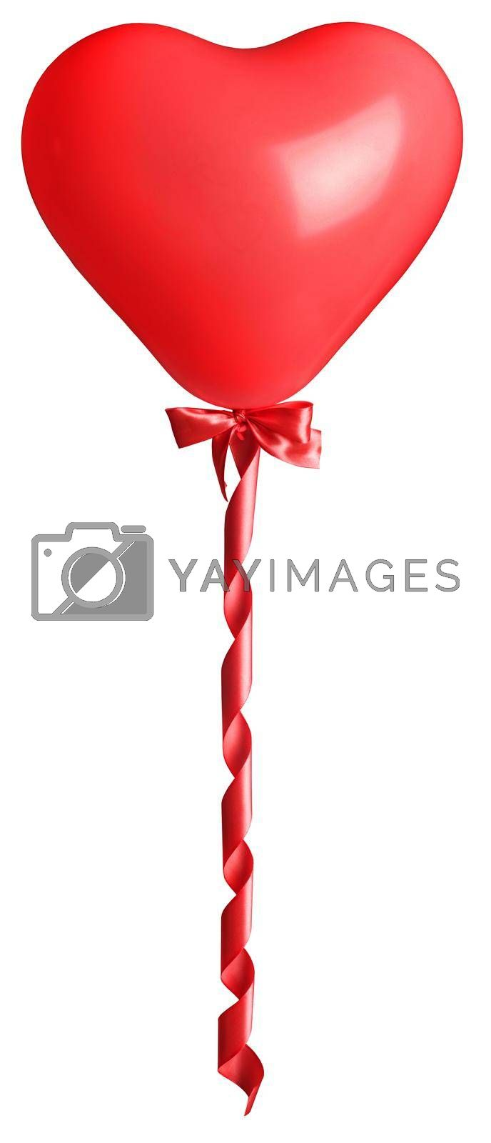 Red heart as air balloon with tied bow and curly silk isolated on white background Valentine day gift