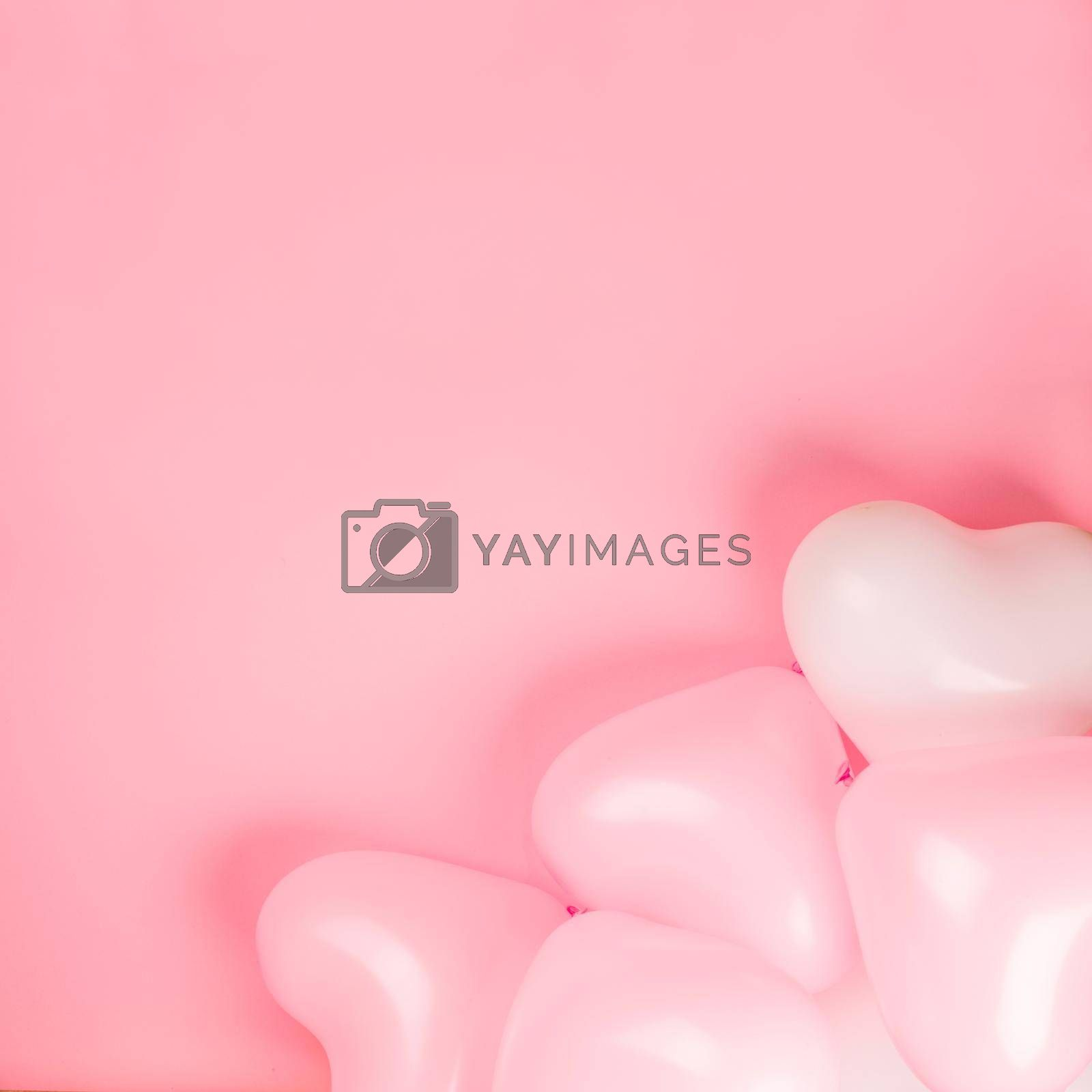 Happy valentines day greetings many heart shaped pink and white balloons background border frame flat lay with copy space for text