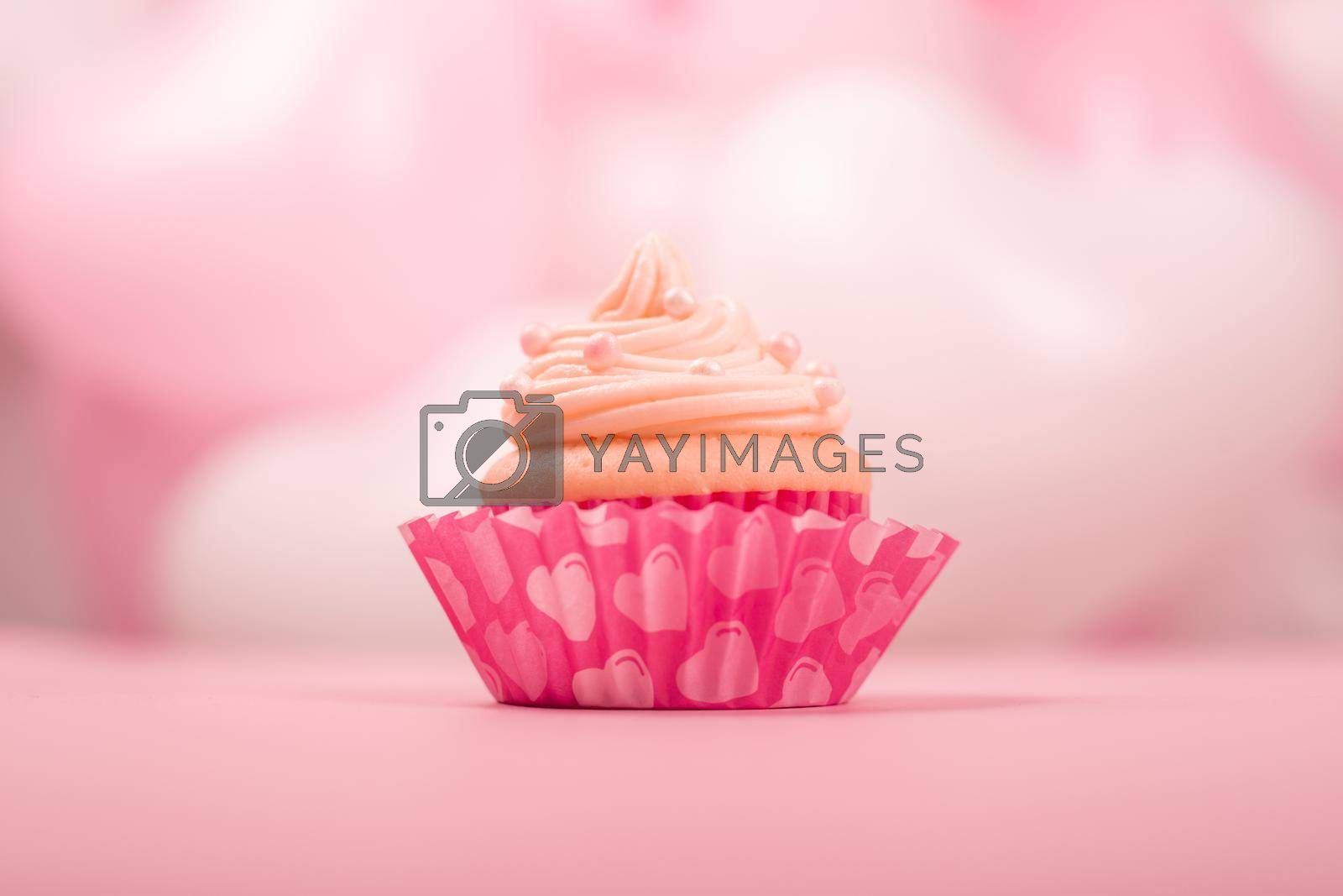 Valentine day love cupcake decorated with cream on pink and white party heart balloons background with copy space for text