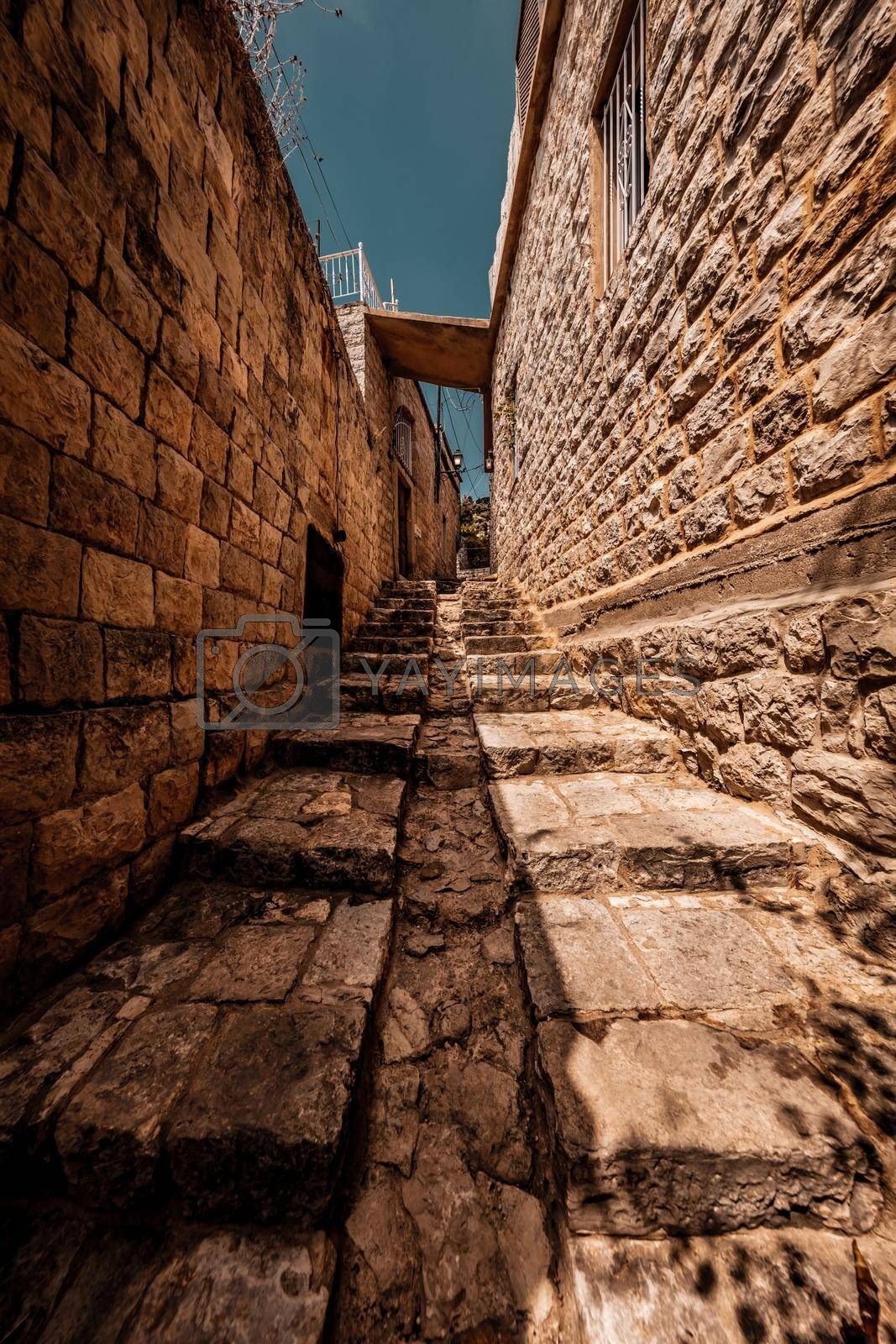 Old Style Narrow Street with Traditional Lebanese Stone Houses. Chouf. Lebanon