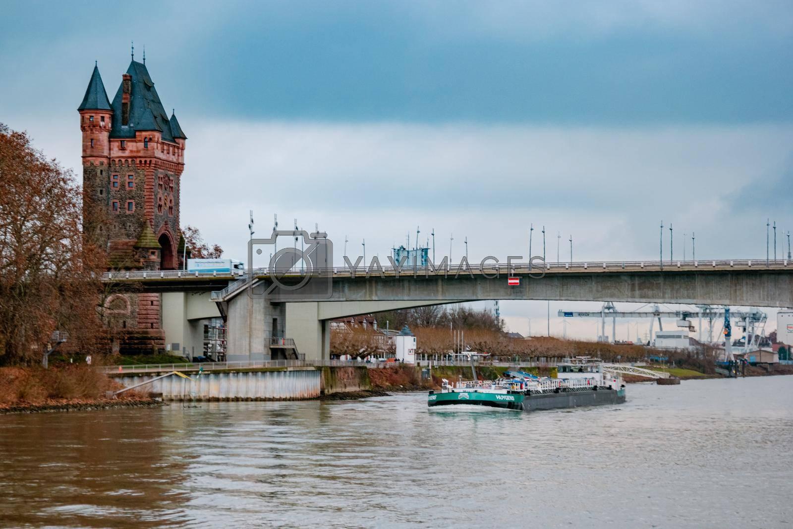 Worms Germany December 2020, Binnenvaart, Translation Inlandshipping on the river rhein Gas tanker vessel Rhine Germany oil and gas transport.