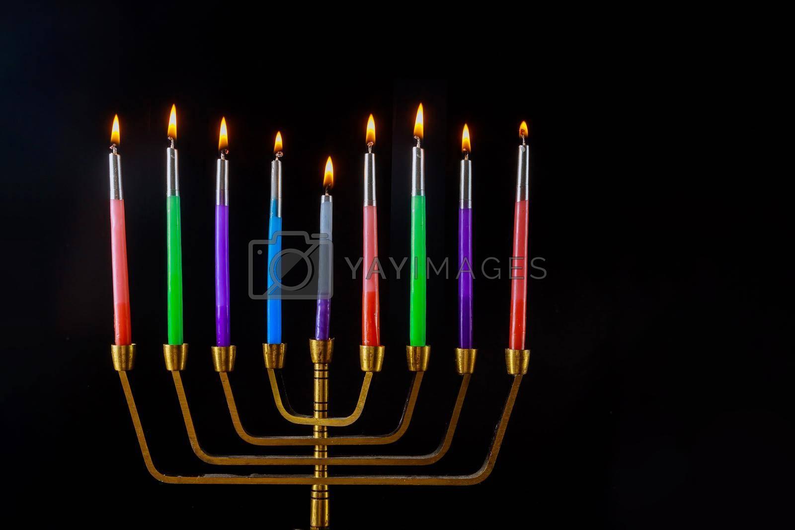 Jewish religion holiday Hanukkah on of Chanukiah menorah in nine candles