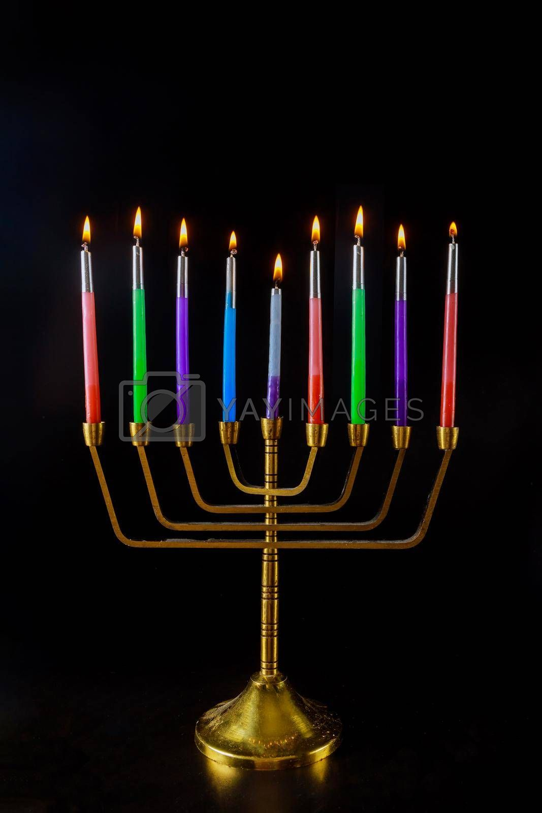 Religion symbol of Menorah with burned out candles for Hanukkah in Jewish holiday