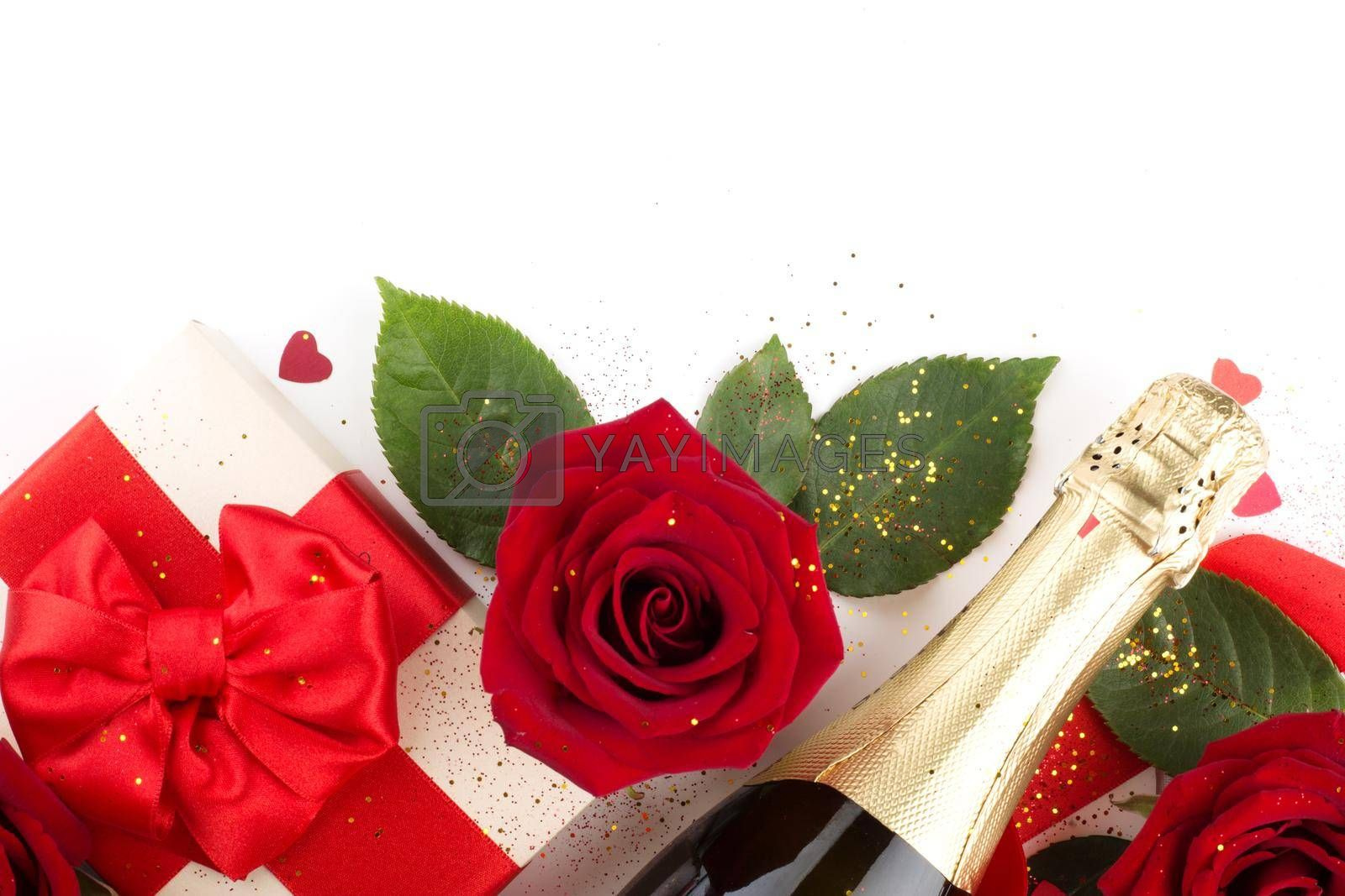 Valentines day composition flat lay top view with gift box rose flowers gift champagne and hearts design element isolated on white background with copy space for text