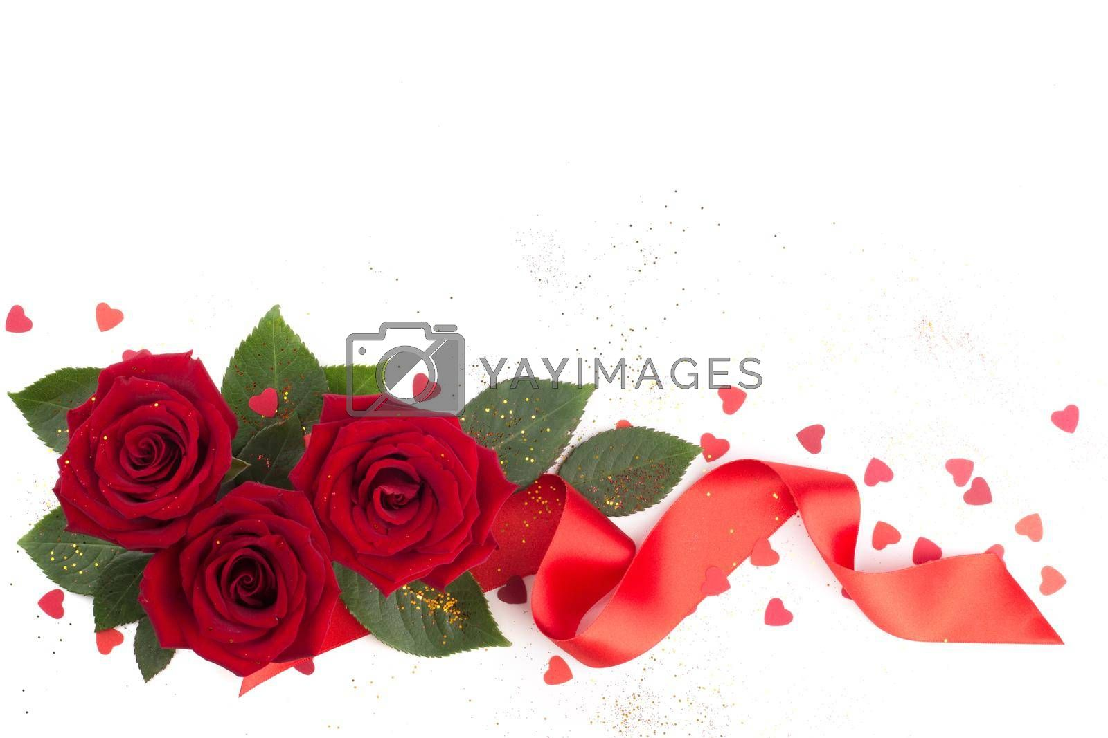 Red rose flowers leaves hearts and ribbon arrangement isolated on white background, top view, design element for Valentines day