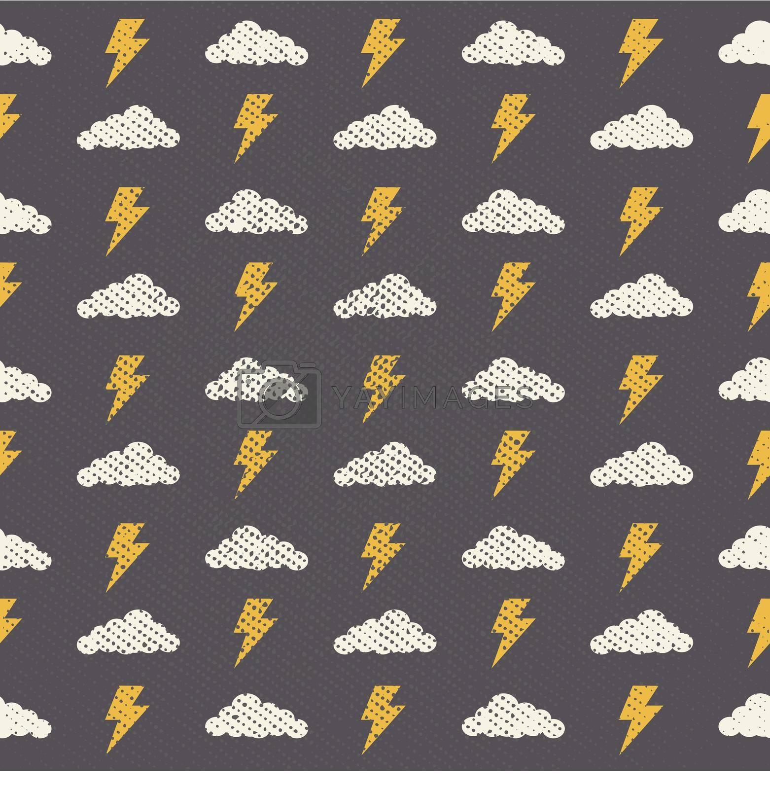 Vector Seamless Grunge Cloud Pattern