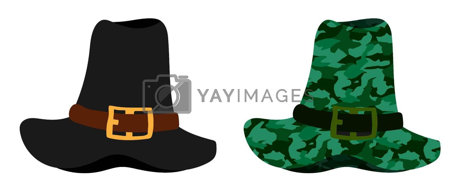 Tall pilgrim hat in natural colors and camouflage. Party wear for Thanksgiving. History of development of America. Vector in minimalistic flat style