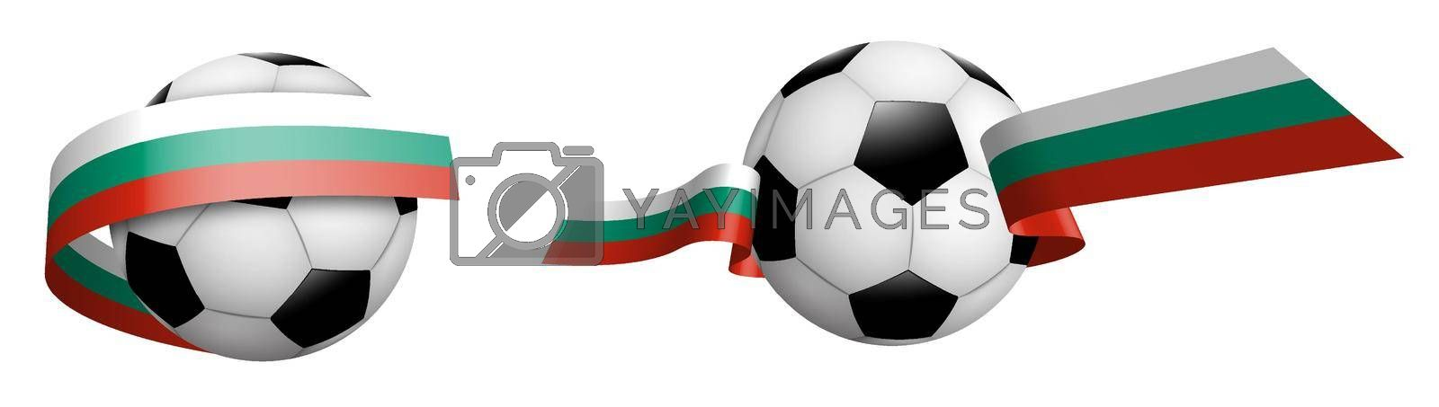 balls for soccer, classic football in ribbons with colors of Bulgaria flag. Design element for football competitions. Bulgarian national team. Isolated vector on white background