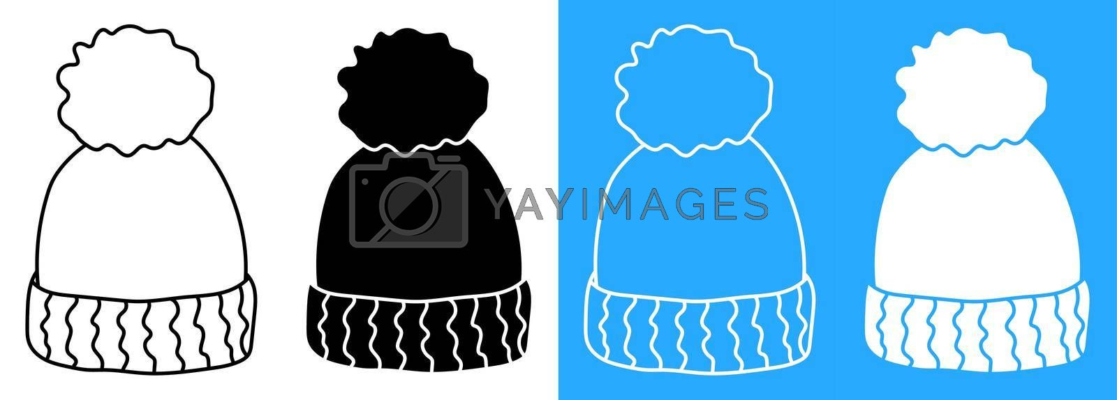 winter warm knitted wool hat. Winter clothing for cold weather. Caring for the health of children. Vector icon