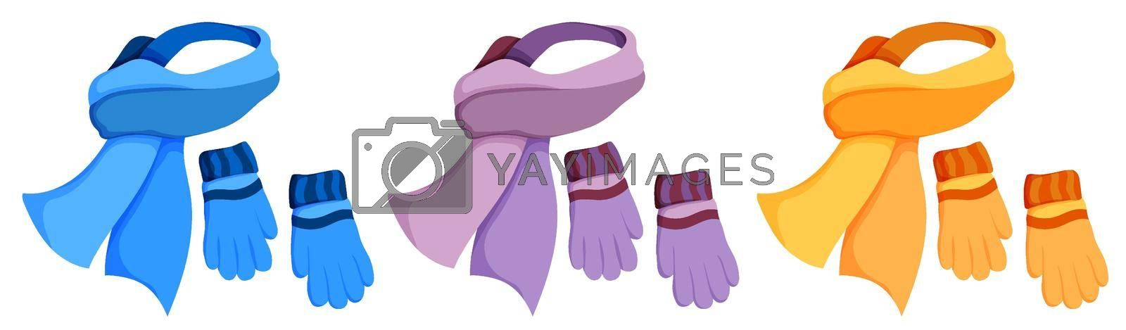 winter warm scarf and wool gloves. Winter clothing for cold weather. Caring for health of children. Cartoon color vector