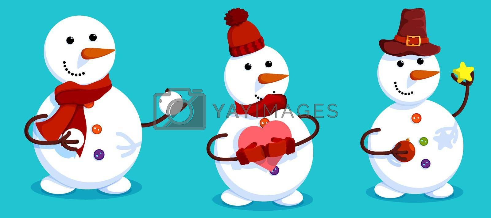 Set of cheerful snowmen in winter clothes. Christmas tree. Winter landscape and snowman. Meeting of Christmas and New Year. Winter fun. Cartoon vector