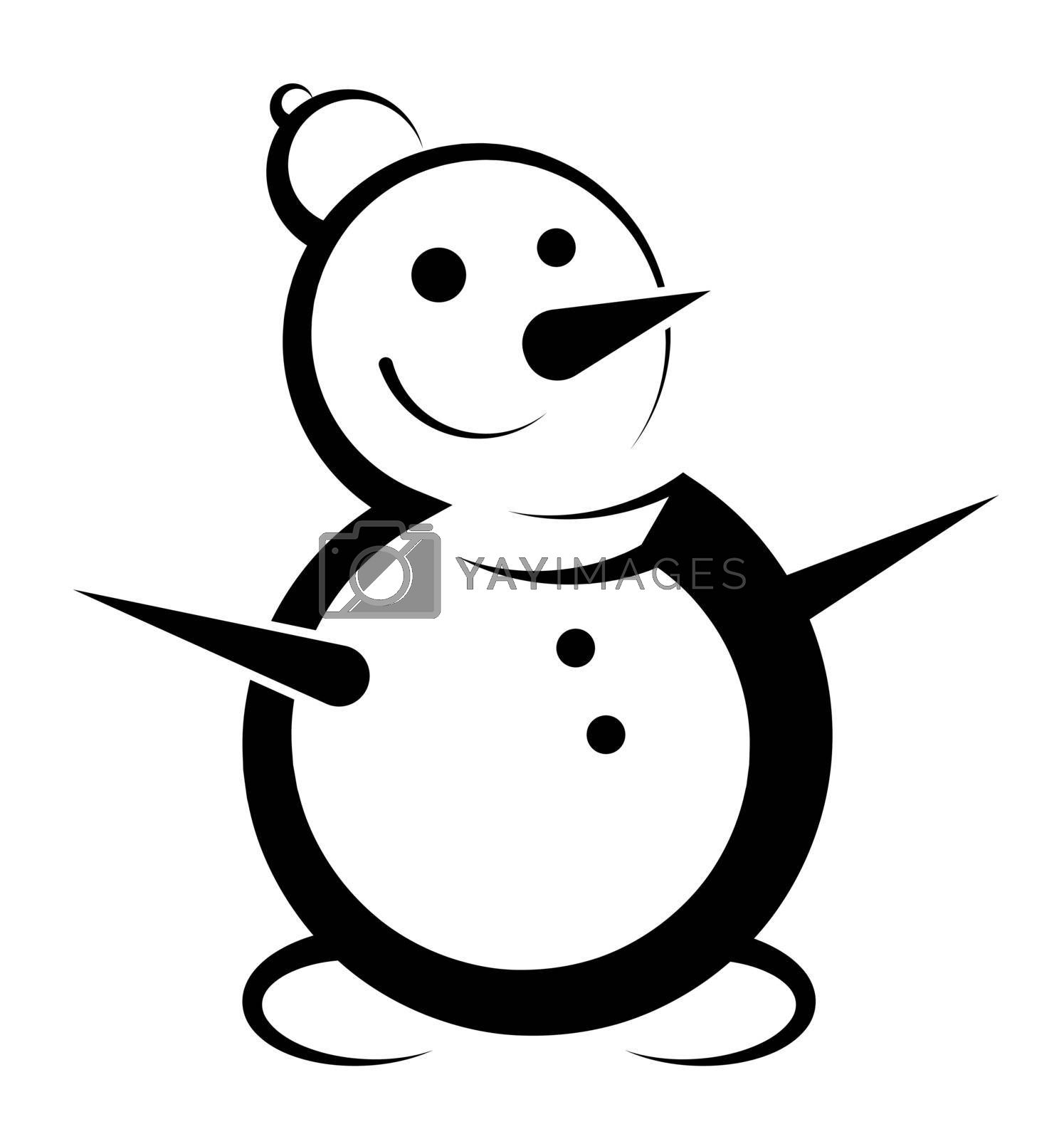 Snowman icon. Cheerful snowman in winter clothes. Meeting of Christmas and New Year. Winter fun. Cartoon vector