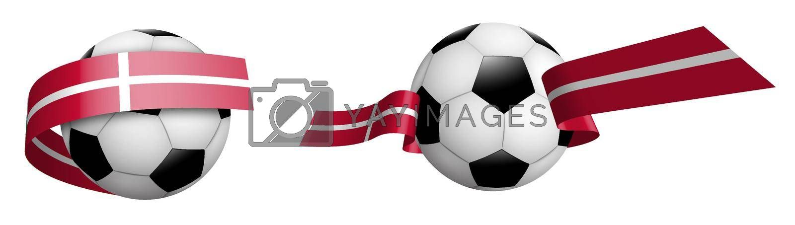 balls for soccer, classic football in ribbons with colors of Denmark flag. Design element for football competitions. Denmark national team. Isolated vector on white background