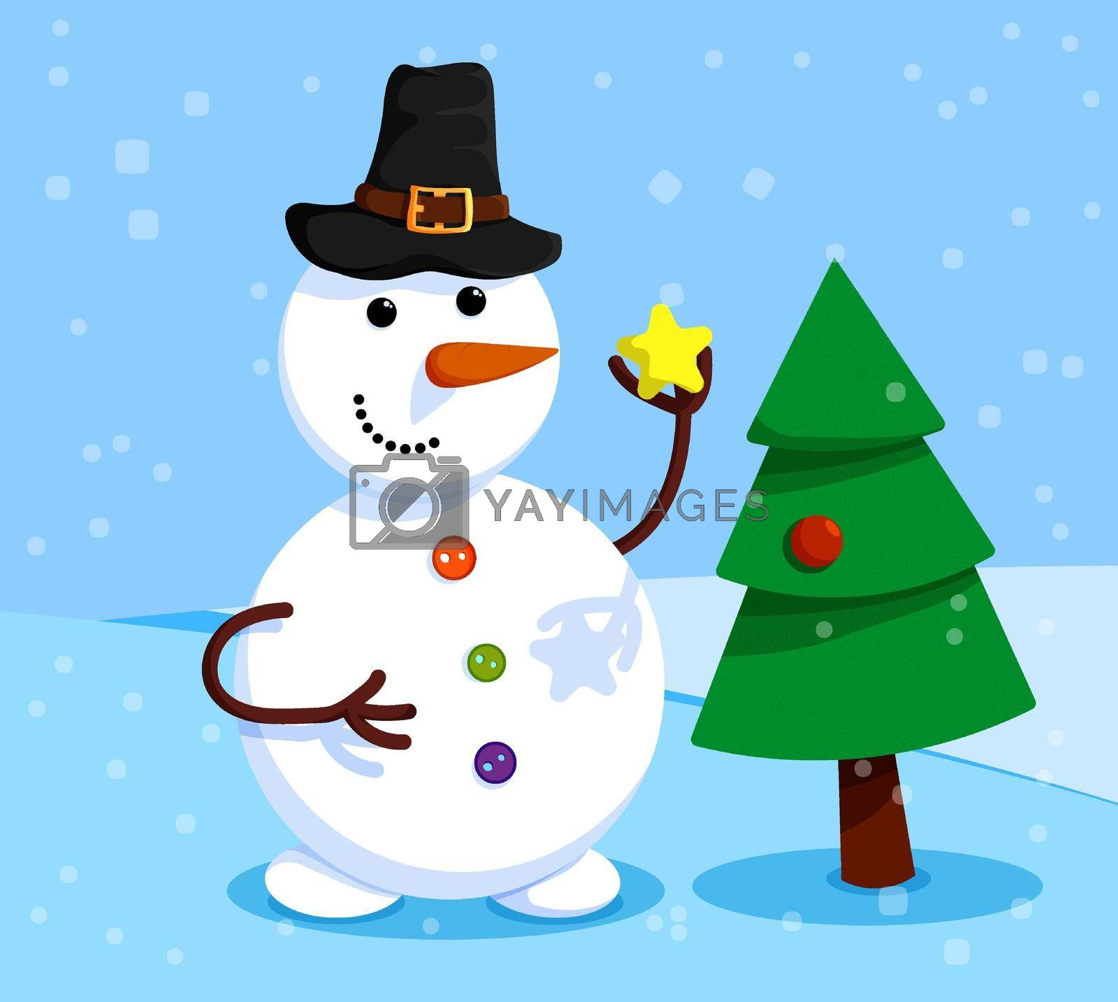 cheerful snowman is decorating the Christmas tree. Winter landscape and snowman. Meeting of Christmas and New Year. Winter fun. Cartoon vector