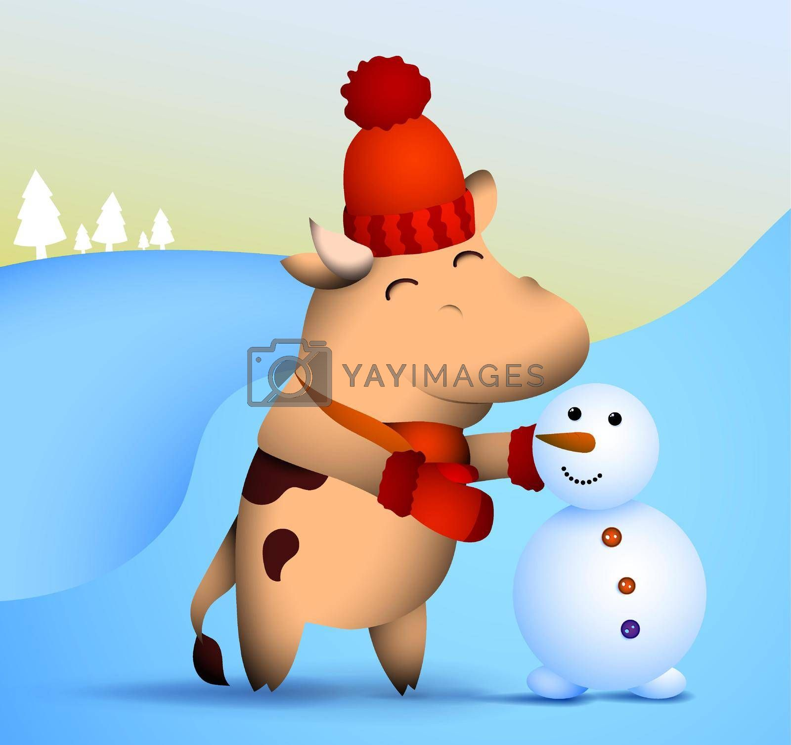 happy little bull, ox in winter clothes makes snowman out of snow. Symbol of 2021 of Chinese calendar with satisfied smile on face. Funny animals. Vector